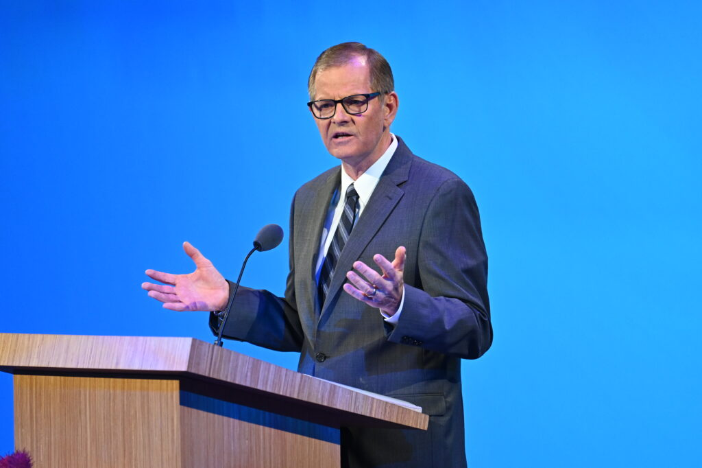 Elder Gary E. Stevenson of the Quorum of the Twelve Apostles teaches on missionary success during Seminar 2021 for new mission leaders on Thursday, June 24, 2021, broadcast from the Conference Center Theater in Salt Lake City , Utah.