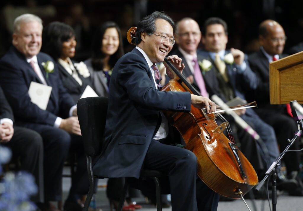 Cellist Yo-Yo Ma performs during inauguration ceremonies for Boston mayor-elect Marty Walsh in Conte Forum at Boston College in Boston, Monday, Jan. 6, 2014. (AP Photo/Michael Dwyer)