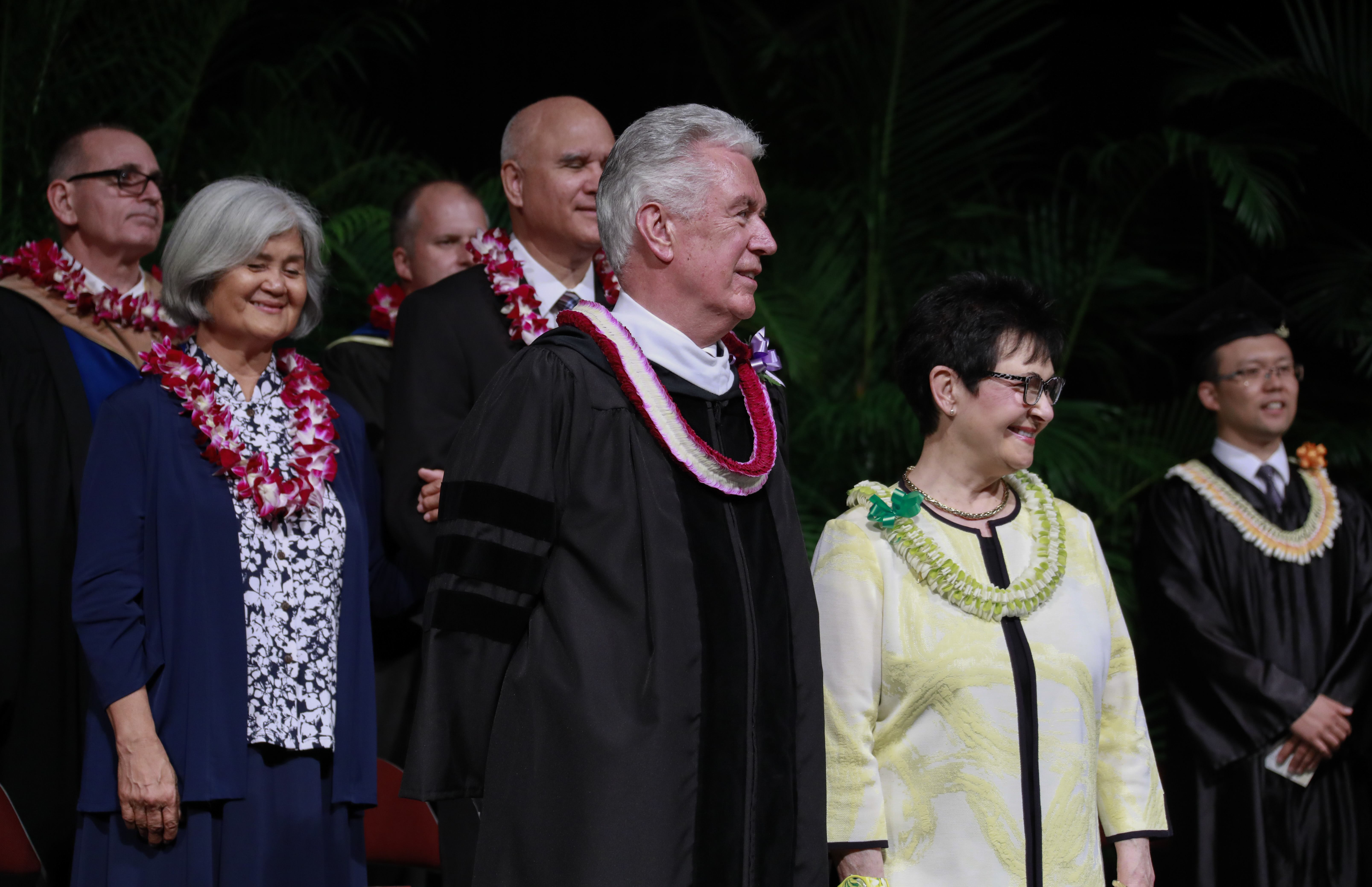 Elder Dieter F. Uchtdorf of the Quorum of the Twelve Apostles stands with his wife, Sister Harriet Uchtdorf, during BYU-Hawaii commencement exercises on Dec. 14.