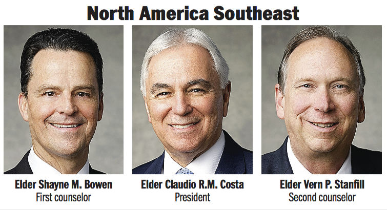 North America Southeast Area presidency: Elder Claudio R.M. Costa, Elder Shayne M. Bowen and Elder Vern P. Stanfill.