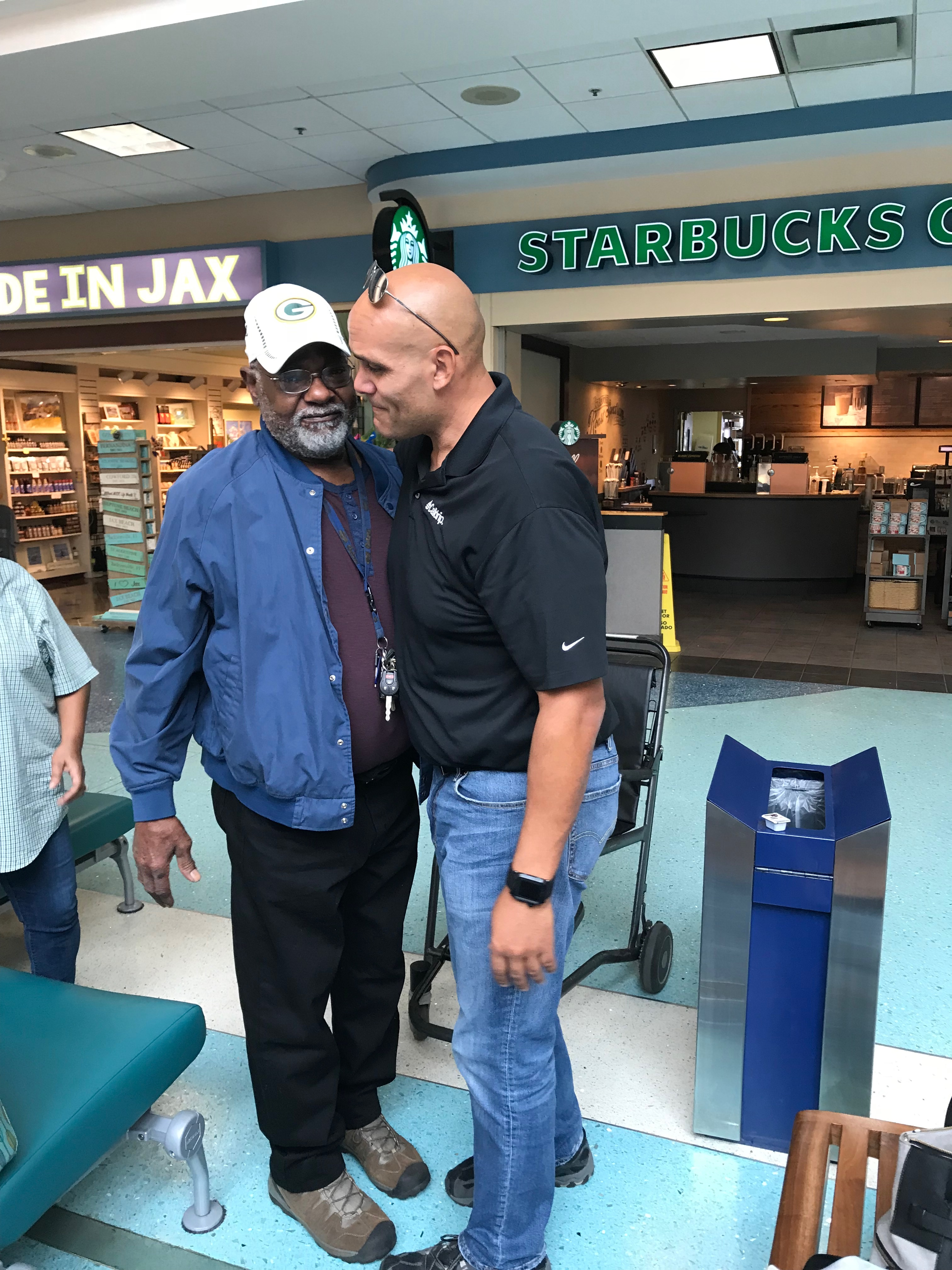Ed Kehl and his biological father George Young share a moment after reconnecting for the first time in more than 35 years.