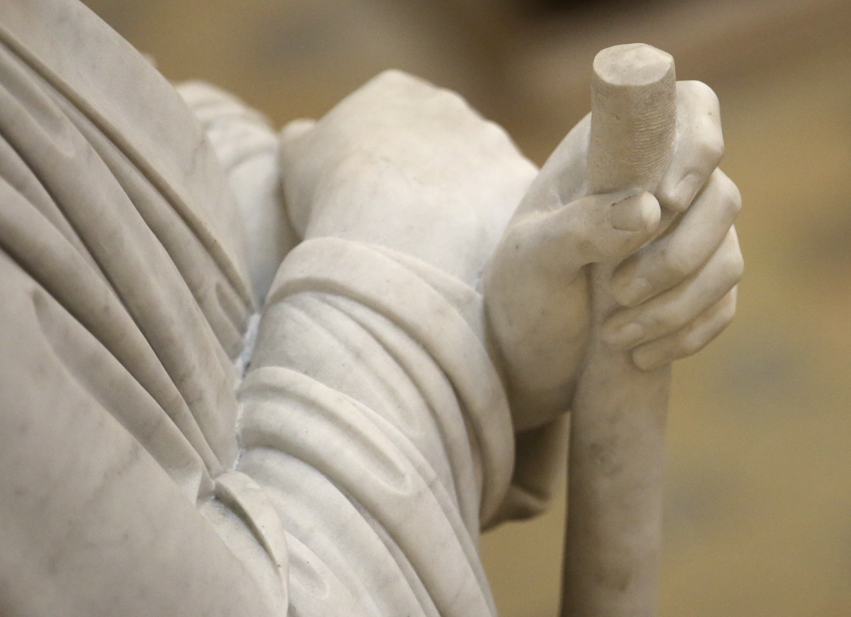 Bertel Thorvaldsen's James, the son of Alpheus, holds a staff at the Church of Our Lady in Copenhagen, Denmark, on Tuesday, Nov. 13, 2018. The 12 apostles statues were carved out of Carrara marble between 1829 and 1848. Replicas of the statues are now on display in the Rome Temple Visitors' Center in Italy.