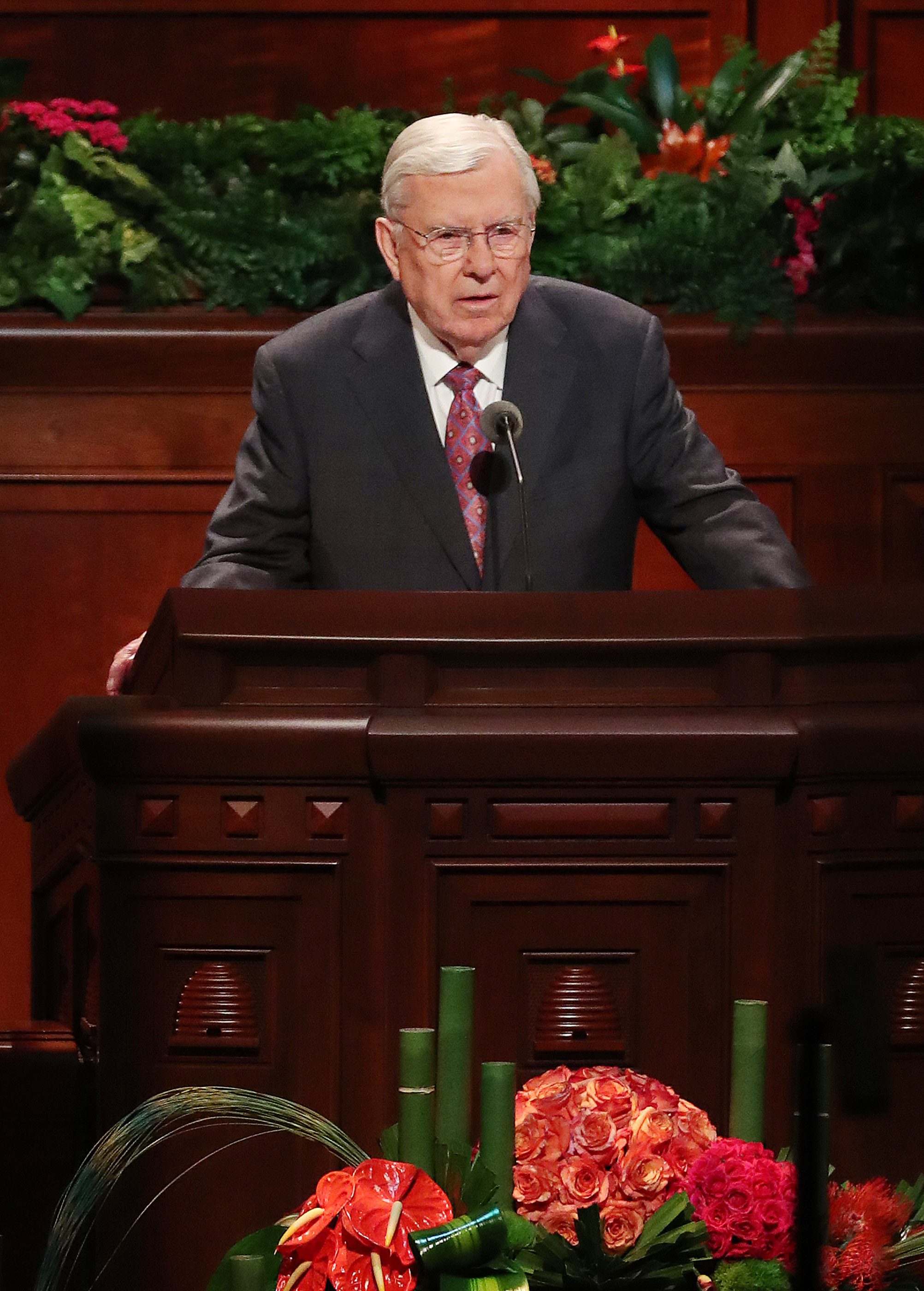 President M. Russell Ballard, acting president of The Church of Jesus Christ of Latter-day Saints' Quorum of the Twelve Apostles, speaks during the 188th Semiannual General Conference of The Church of Jesus Christ of Latter-day Saints in Salt Lake City on Sunday, Oct. 7, 2018.