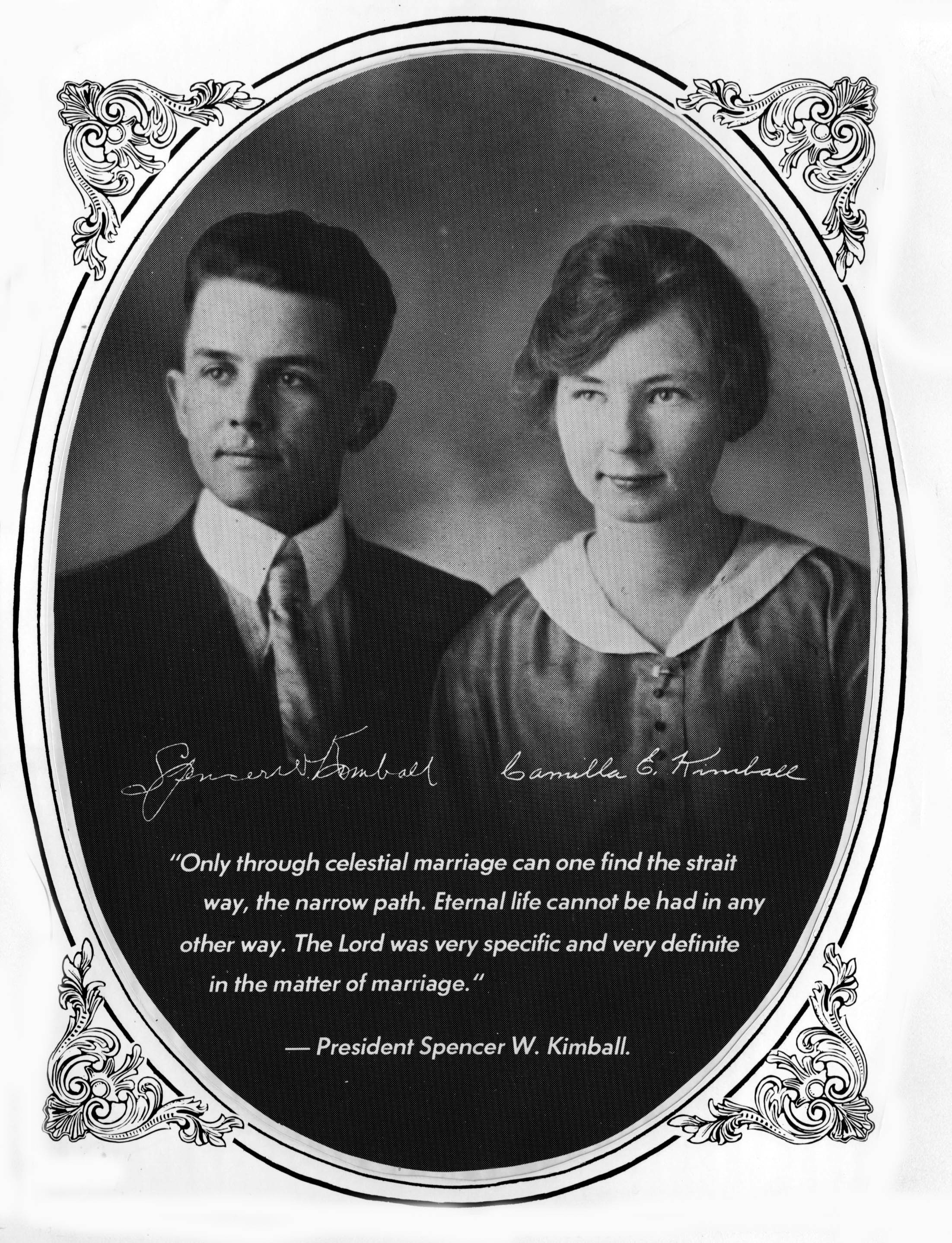 A wedding photo of Spencer W. Kimball and Camilla Eyring.