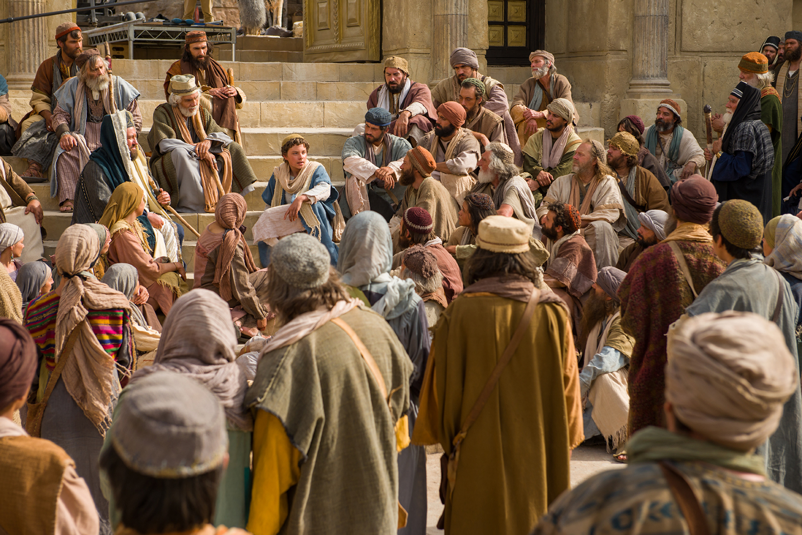 An image from the Church's Bible video series depicts Jesus teaches at the temple as a young boy.