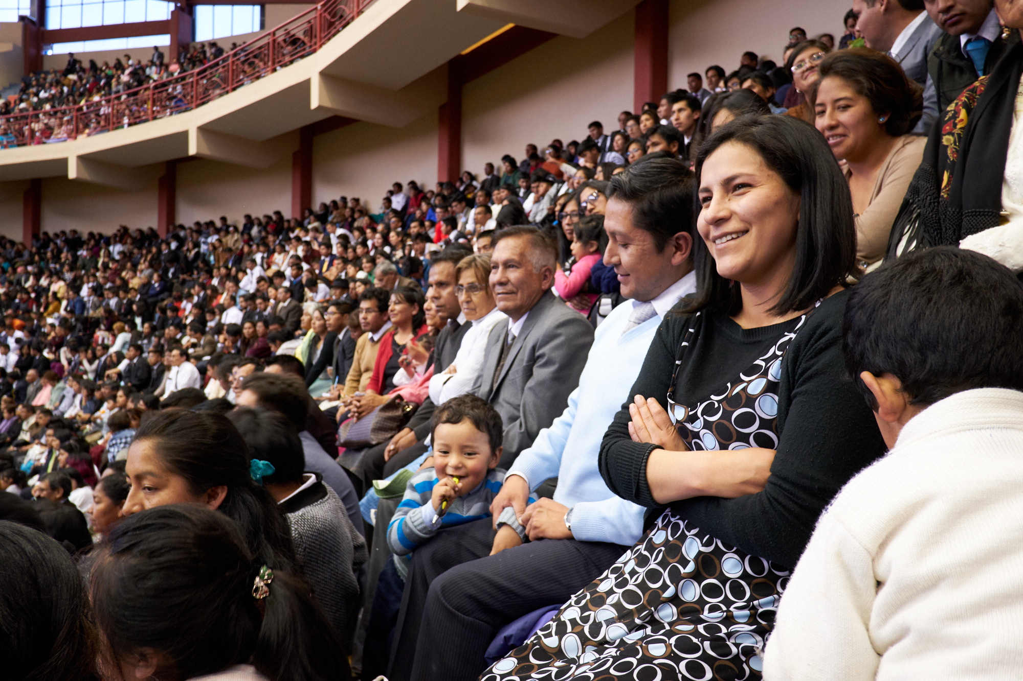 Members of The Church of Jesus Christ of Latter-day Saints gather to hear counsel and encouragement from President Russell M. Nelson in the Polideportivo Heroes de Octubre in El Alto, Bolivia, on Oct. 21, 2018. Others watched a broadcast of the event at Church meetinghouses throughout the country.