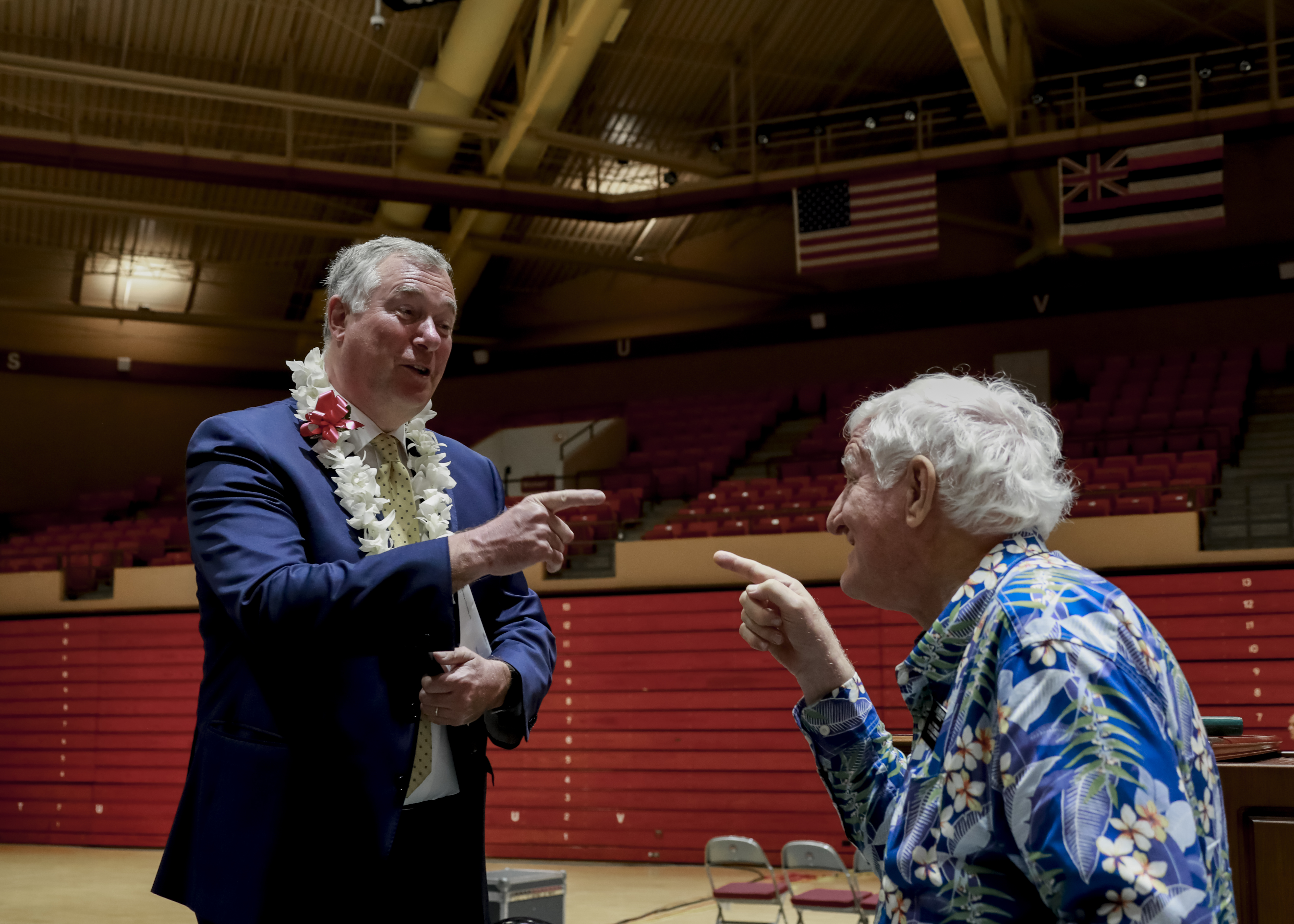 Elder Erich W. Kopischke mingles with attendees following his devotional address at BYU Hawaii on Tuesday, Feb. 19, 2019.