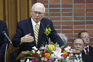 Elder Dallin H. Oaks of the of the Quorum of the Twelve visits Japan almost 12 months after March 11, 2011, earthquake and tsunami devastated the landscape.