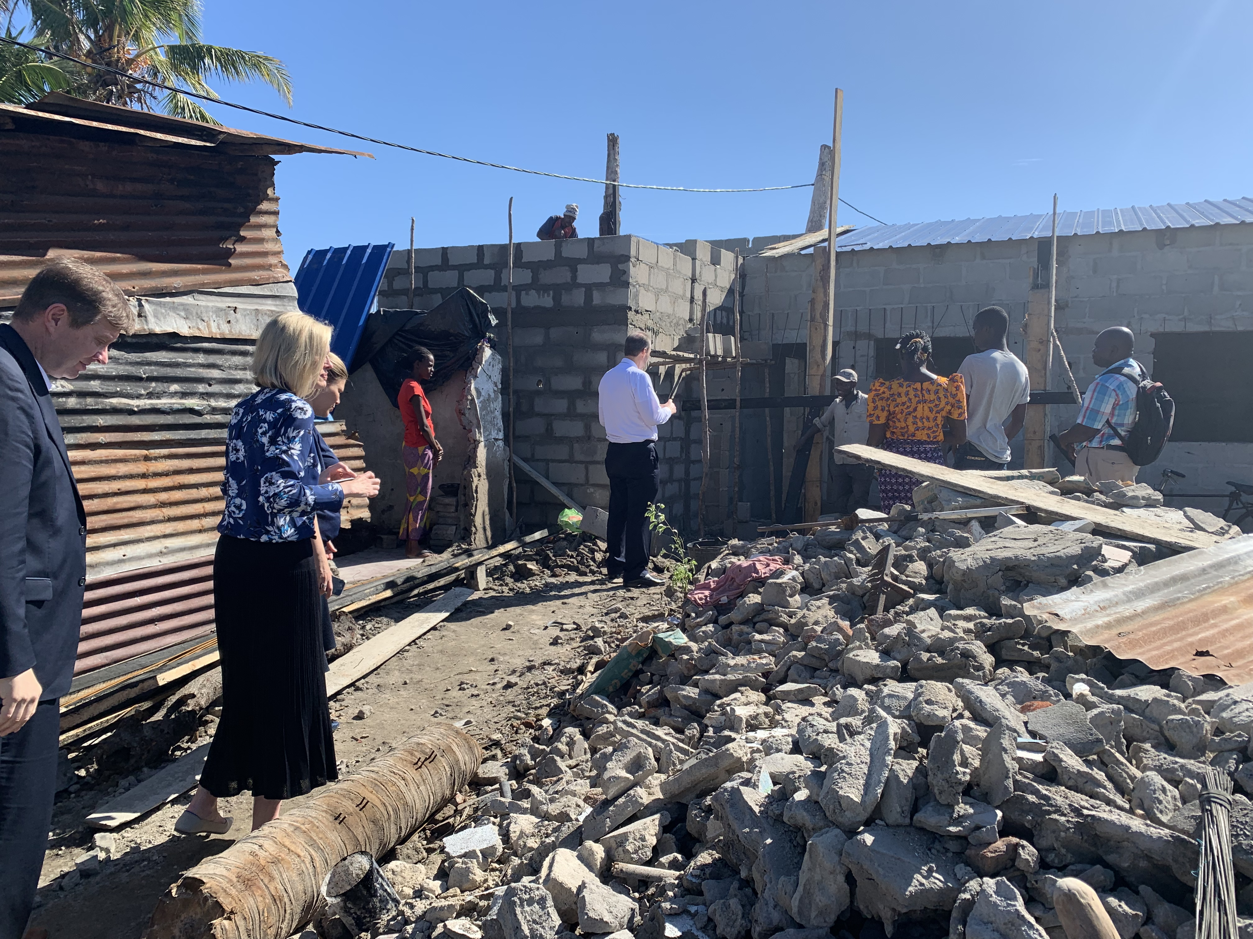 Sister Bonnie H. Cordon visits the sites of member homes that were destroyed in a recent cyclone in Beira, Mozambique.