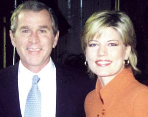 Among the interviews she conducted on national television was that of President George W. Bush.