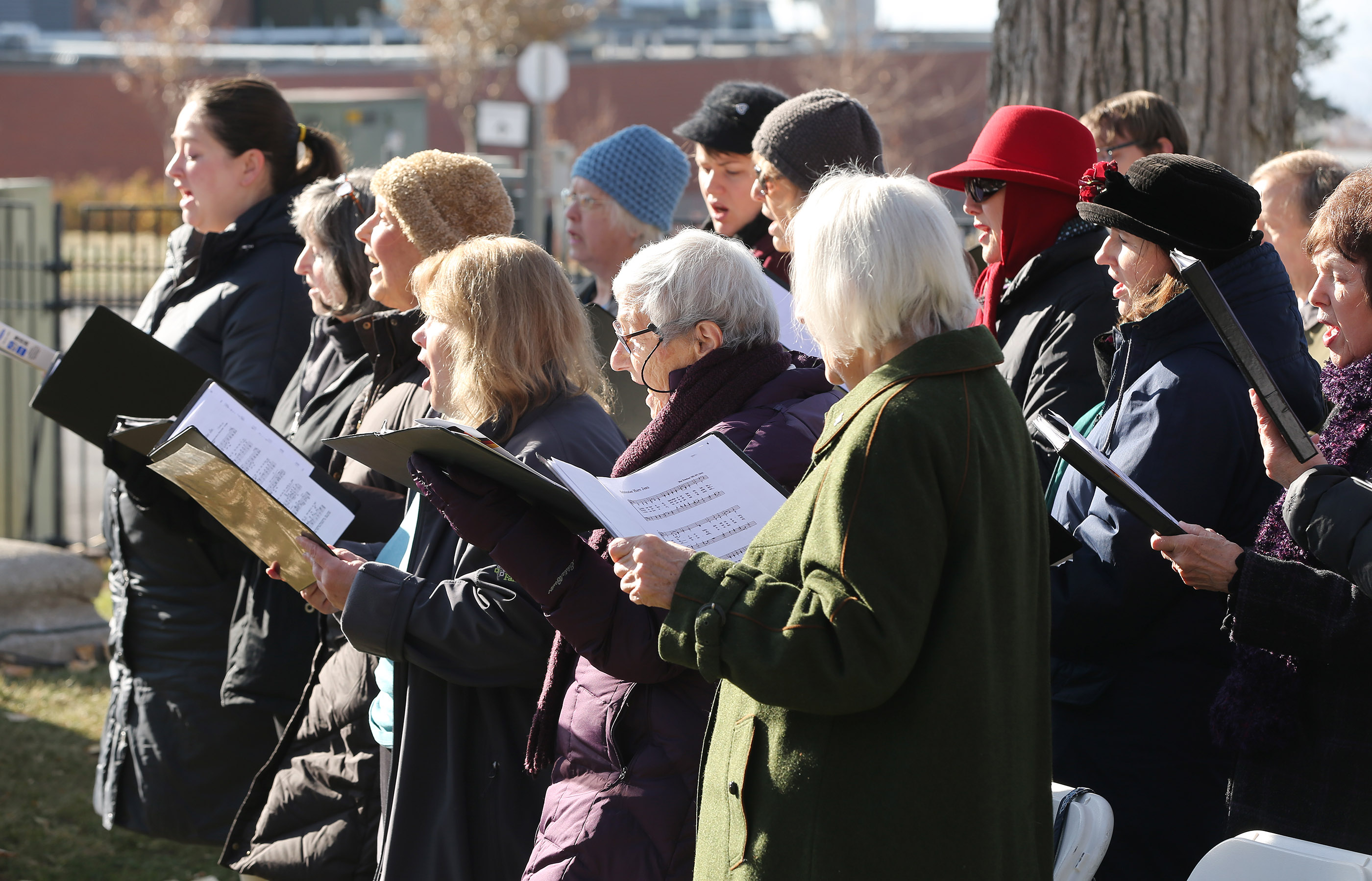 German Chorus Harmonie sing during the German Day of Remembrance (Volkstrauertag) at Fort Douglas Military Cemetery in Salt Lake City on Sunday, Nov. 18, 2018.