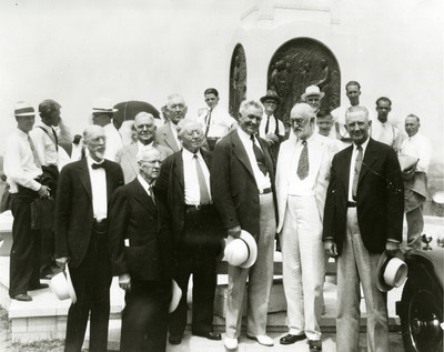 From left, George Albert Smith, Rudger Clawson, Charles A. Callis, Melvin J. Ballard, David O. McKay, Heber J. Grant, and Sylvester Q. Cannon at the Hill Cumorah Monument dedication in Palmyra, N.Y., in 1935.