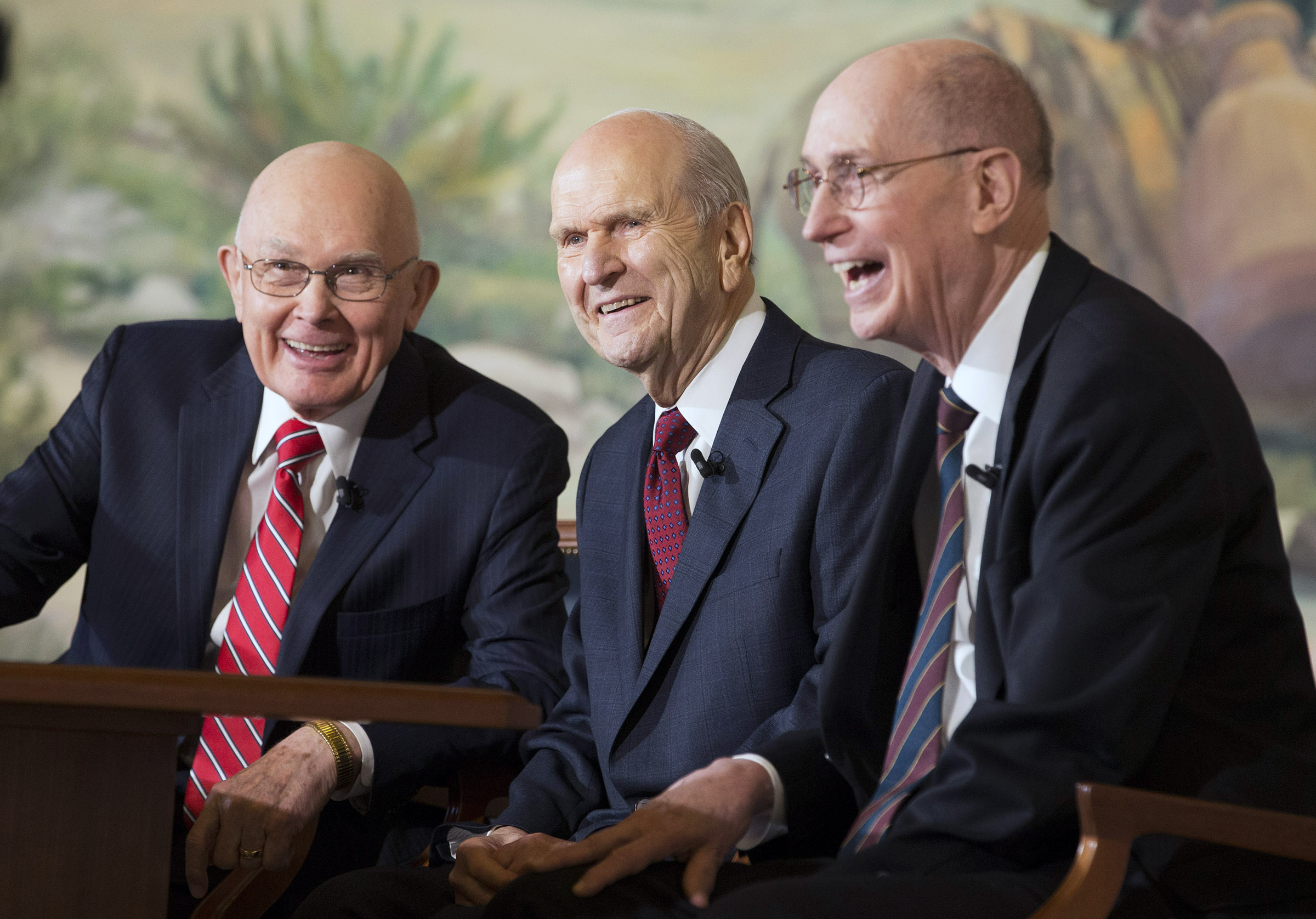 President Russell M. Nelson the 17th President of The Church of Jesus Christ of Latter-day Saints sits with his counselors President Dallin H. Oaks, first counselor, (left) and President Henry B. Eyring, second counselor (right) at a press conference in Salt Lake City Utah on Tuesday, Jan. 16, 2018.