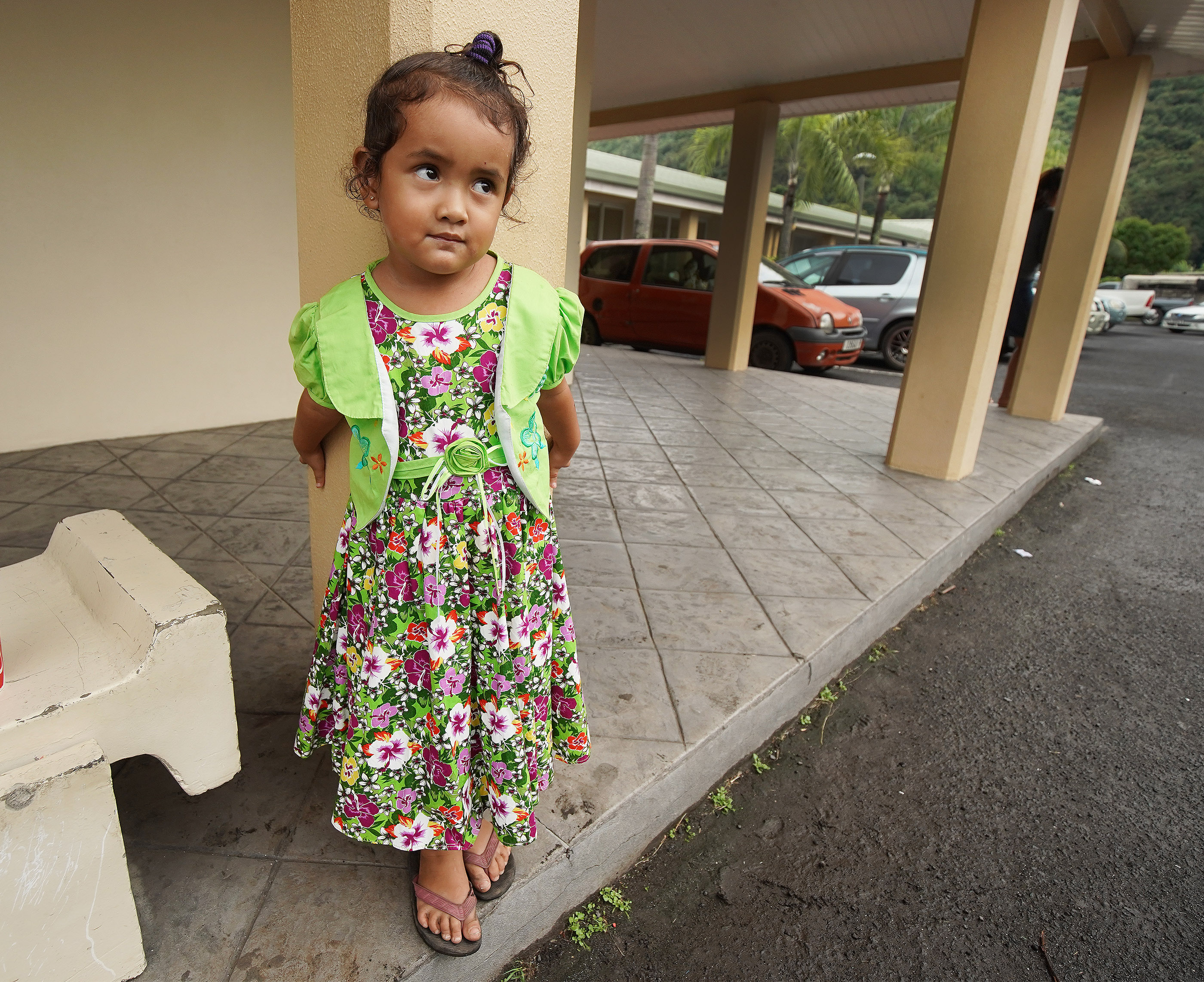 Picard Vaiora waits outside after meetings at The Church of Jesus Christ of Latter-day Saints in Papeete, Tahiti, on May 26, 2019.
