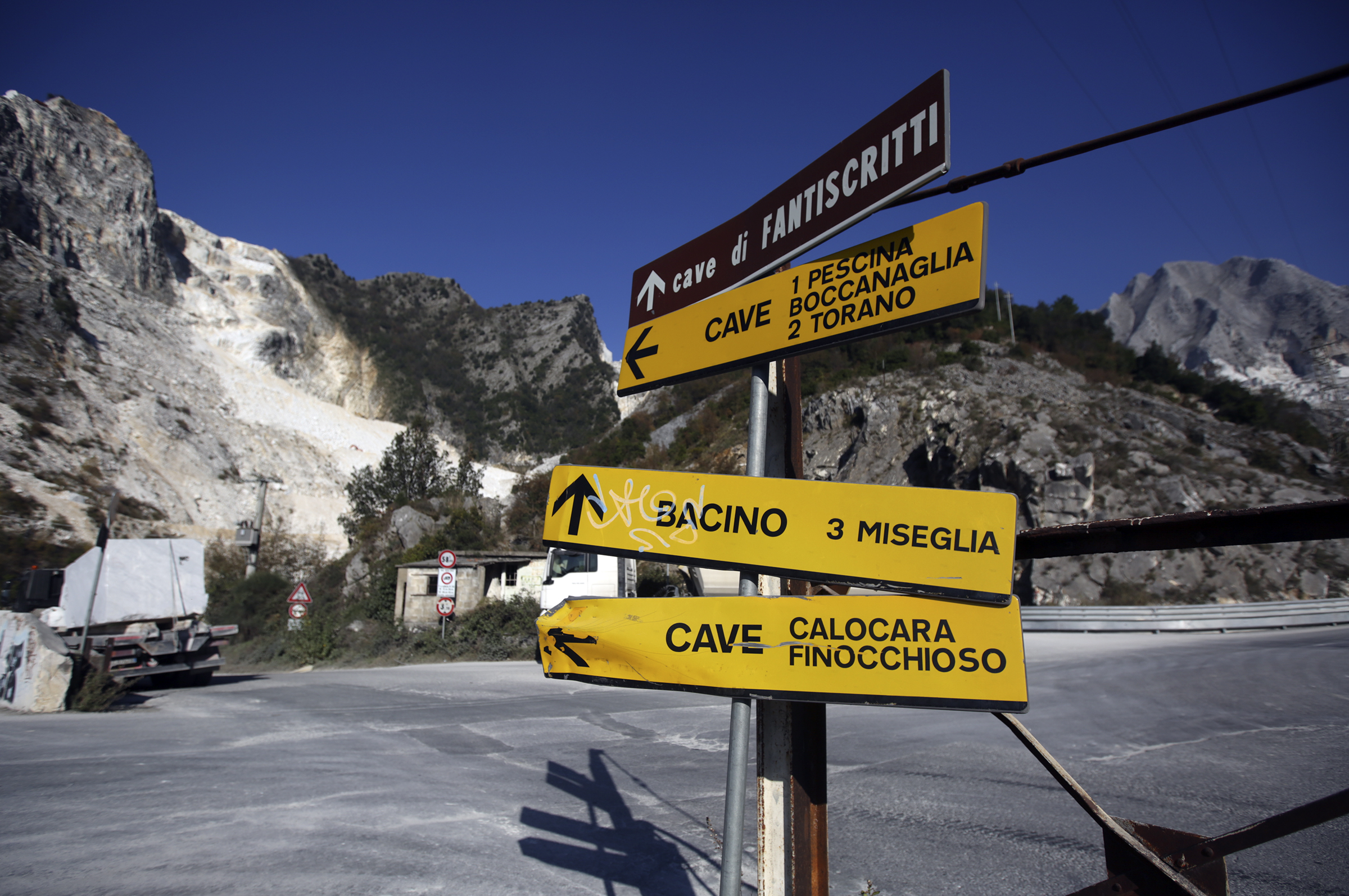 Signs at the marble quarries in Carrara, Italy, on Thursday, Nov. 15, 2018.