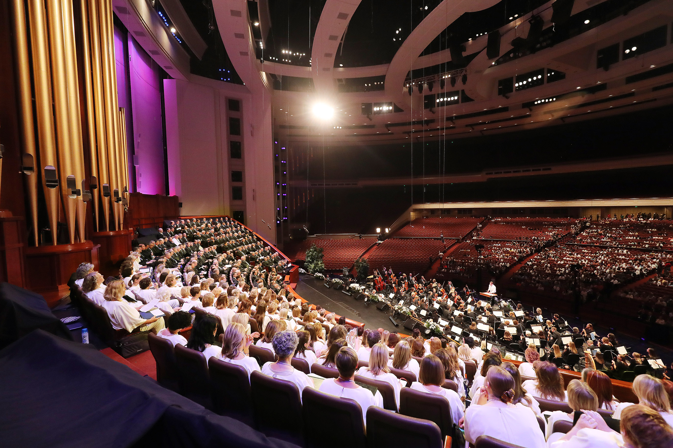 """The Tabernacle Choir at Temple Square rehearses for """"Music and the Spoken Word"""" in Salt Lake City on Sunday, July 14, 2019. The choir celebrated the 90th anniversary of """"Music and the Spoken Word"""" being on air."""