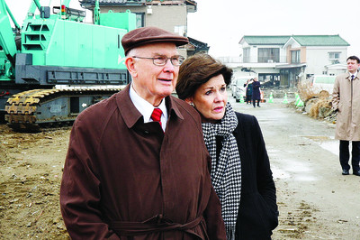 Sister Kristen M. Oaks, who served her mission in Japan, is accompanied by her husband, Elder Dallin H. Oaks of the Quorum of the Twelve, to Tohoku, Japan, close to the one-year anniversary of the March 11, 2011, earthquake and tsunami.