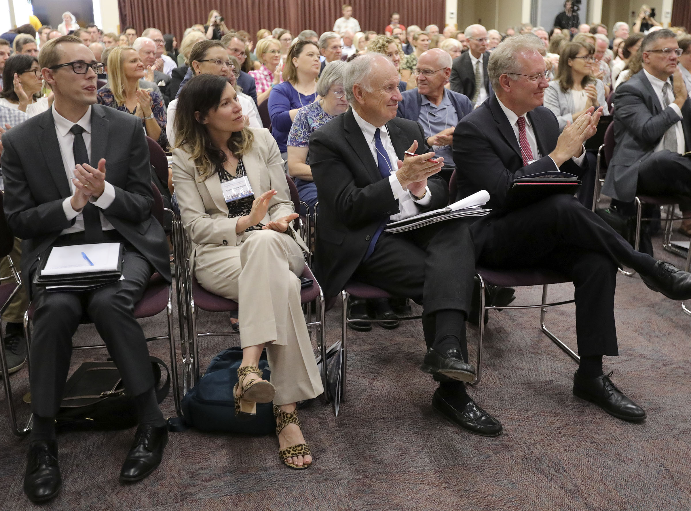 Attendees applaud after Elder Patrick Kearon, of The Church of Jesus Christ of Latter-day Saints' Quorums of the Seventy, gave the keynote address at the Religious Freedom Annual Review at the BYU Conference Center in Provo on Wednesday, June 19, 2019.