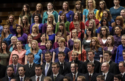 The Ogden Institute Choir sing prior to Elder Jay E. Jensen of the Presidency of the Seventy speaking at a Church Educational System broadcast for young married and single adults at BYU in Provo Sunday, Jan. 8, 2012.