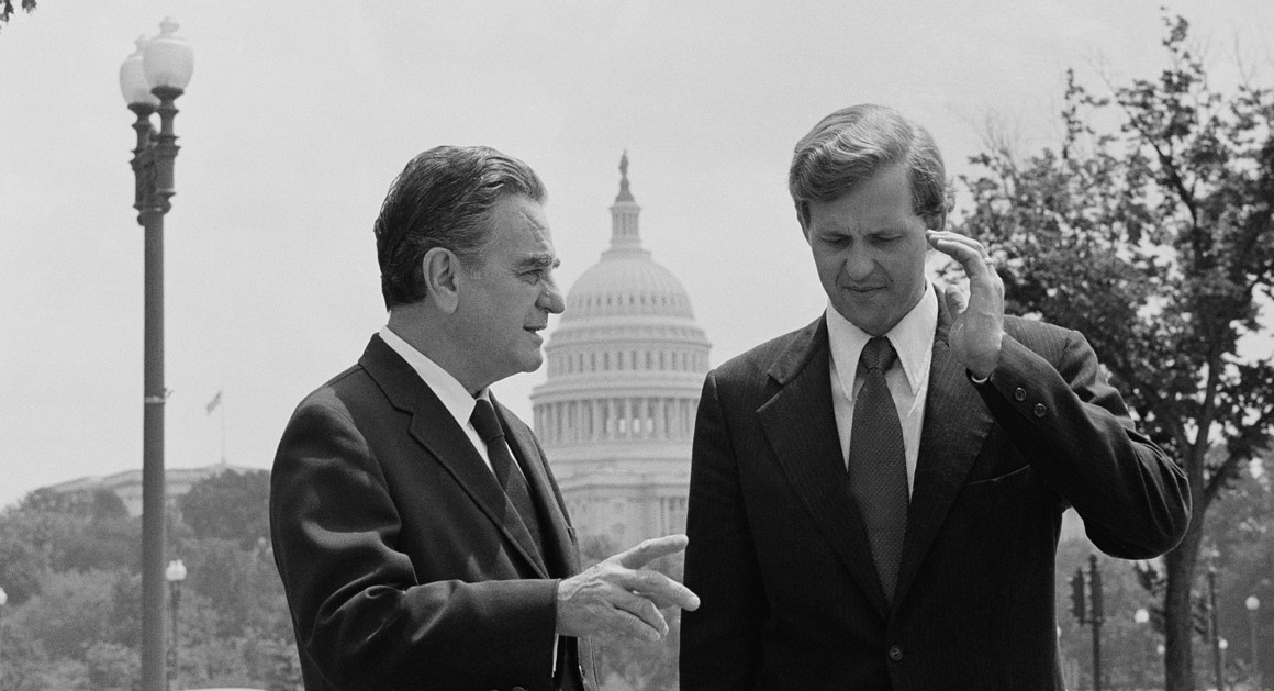 """District Judge John J. Sirica, left, talks with his law clerk Todd Christofferson on Aug. 3, 1974, in Washington, D.C. Sirica's subpoena for presidential tapes started President Richard Nixon's final downfall in the Watergate scandal. Reporter Bob Woodward and Elder D. Todd Christofferson, now a member of The Church of Jesus Christ of Latter-day Saints' Quorum of the Twelve Apostles, will be part of the """"Truth & Integrity"""" event on Monday, Jan. 14, 2019, in Washington, D.C."""