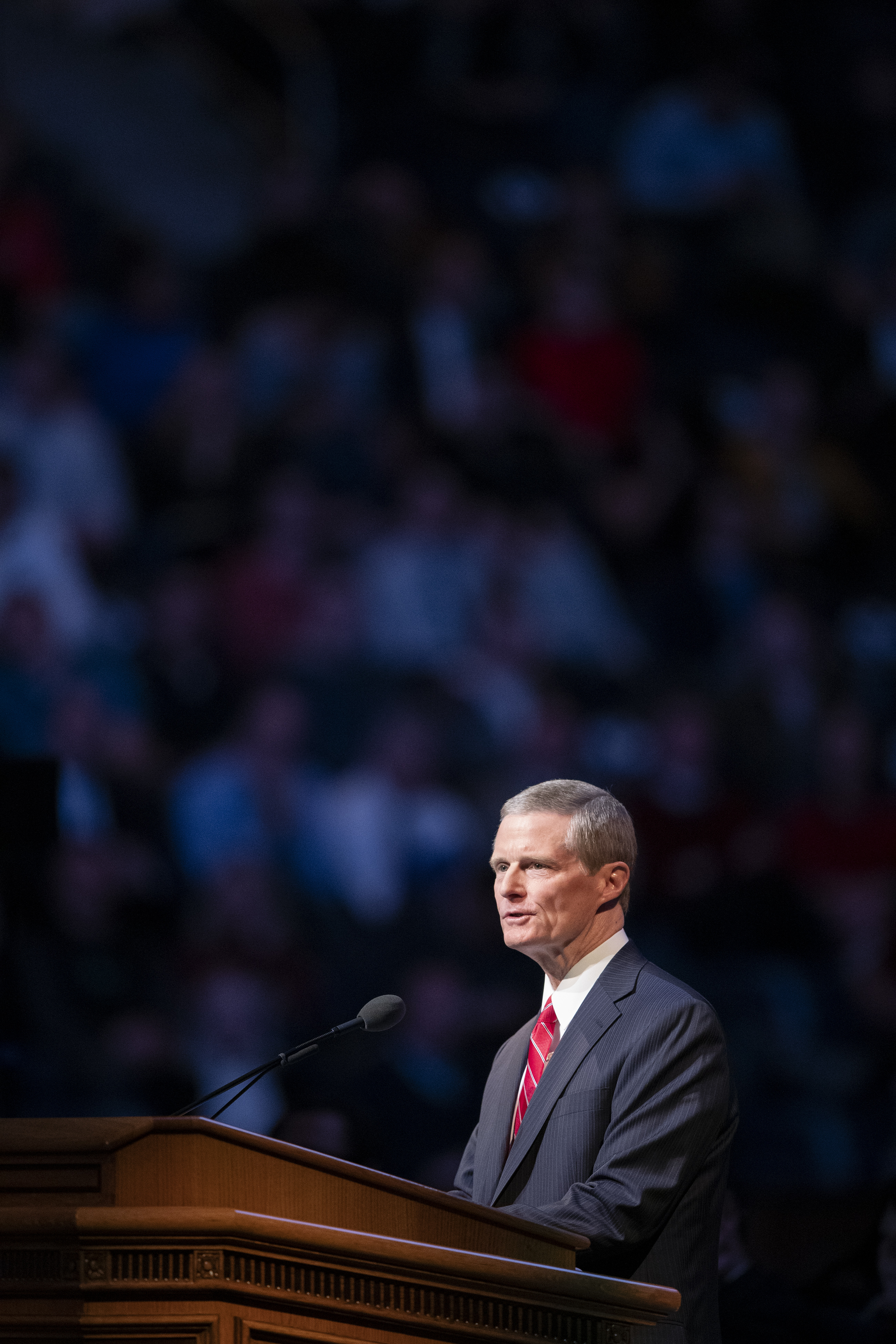 Elder David A. Bednar of the Quorum of the Twelve Apostles of The Church of Jesus Christ of Latter-day Saints speaks during the campus devotional held in the Marriott Center at BYU in Provo on Tuesday, Dec. 4, 2018.