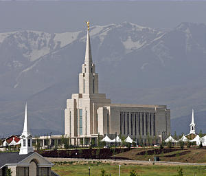 Exterior of the Oquirrh Mountain Utah Temple in South Jordan, Utah. Meeting houses are on bot h sides of the prominent and stately temple, which is the fourth in the Salt Lake Valley, and the second in South Jordan, Utah.