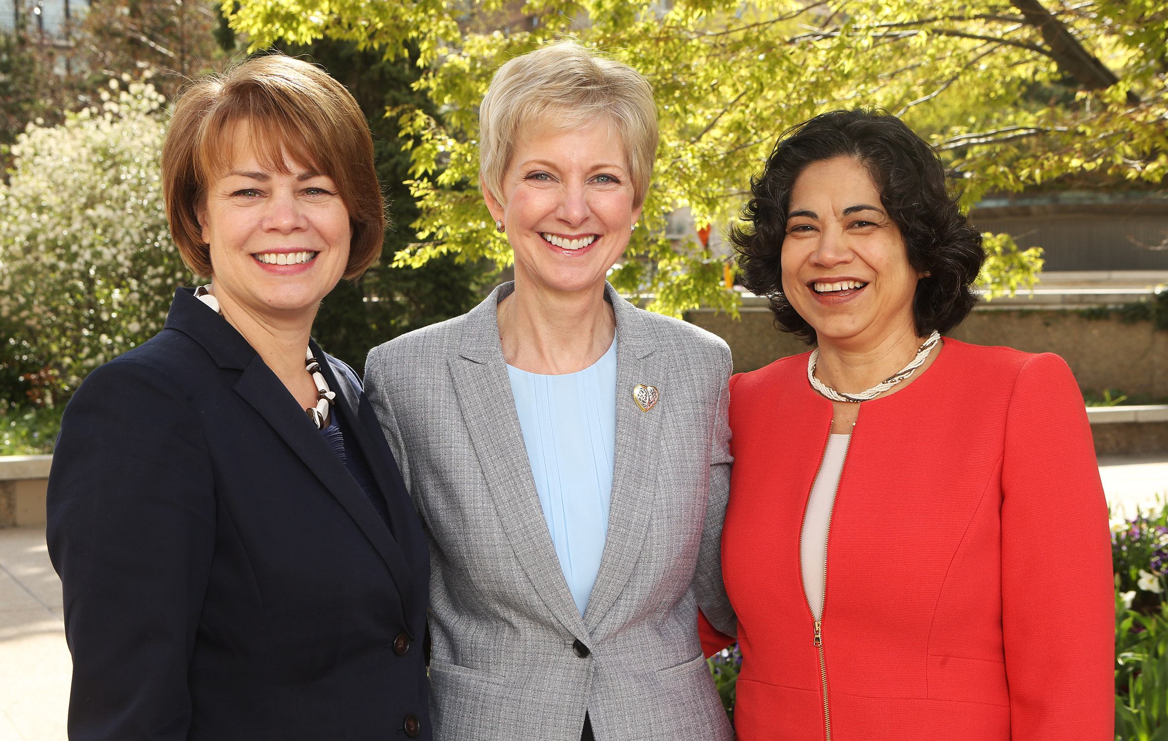 Sister Jean Barrus Bingham general president of the Relief Society, center, with her councilors Sister Sharon Eubank first counselor in the general presidency of the Relief Society, left, and Sister Reyna I. Aburto second counselor in the general presidency of the Relief Society, right, in Salt Lake City on Monday, April 3, 2017.