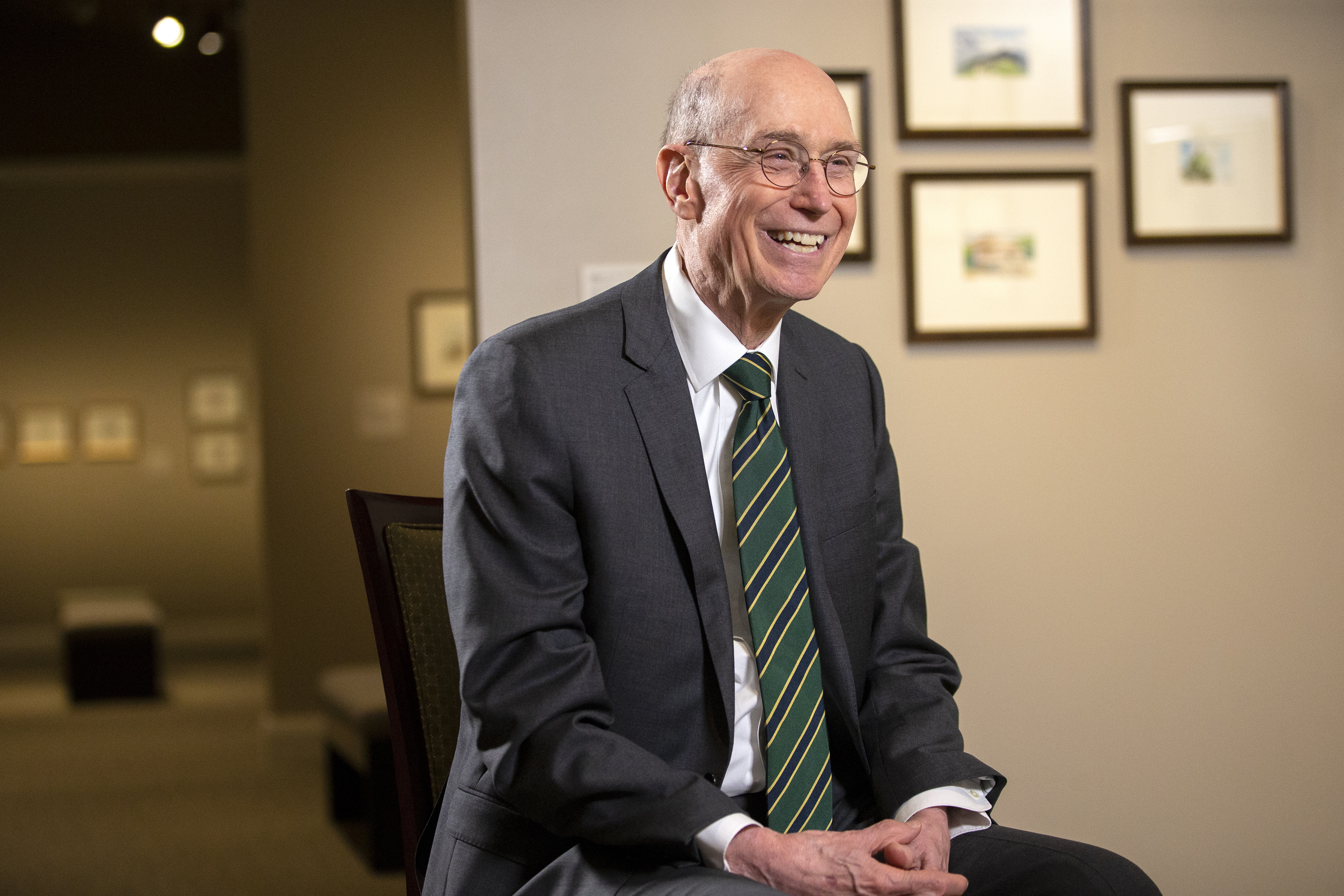President Henry B. Eyring discusses the different pieces of his art on display in a special exhibit at the Church History Museum in Salt Lake City on Monday, Nov. 5, 2018.