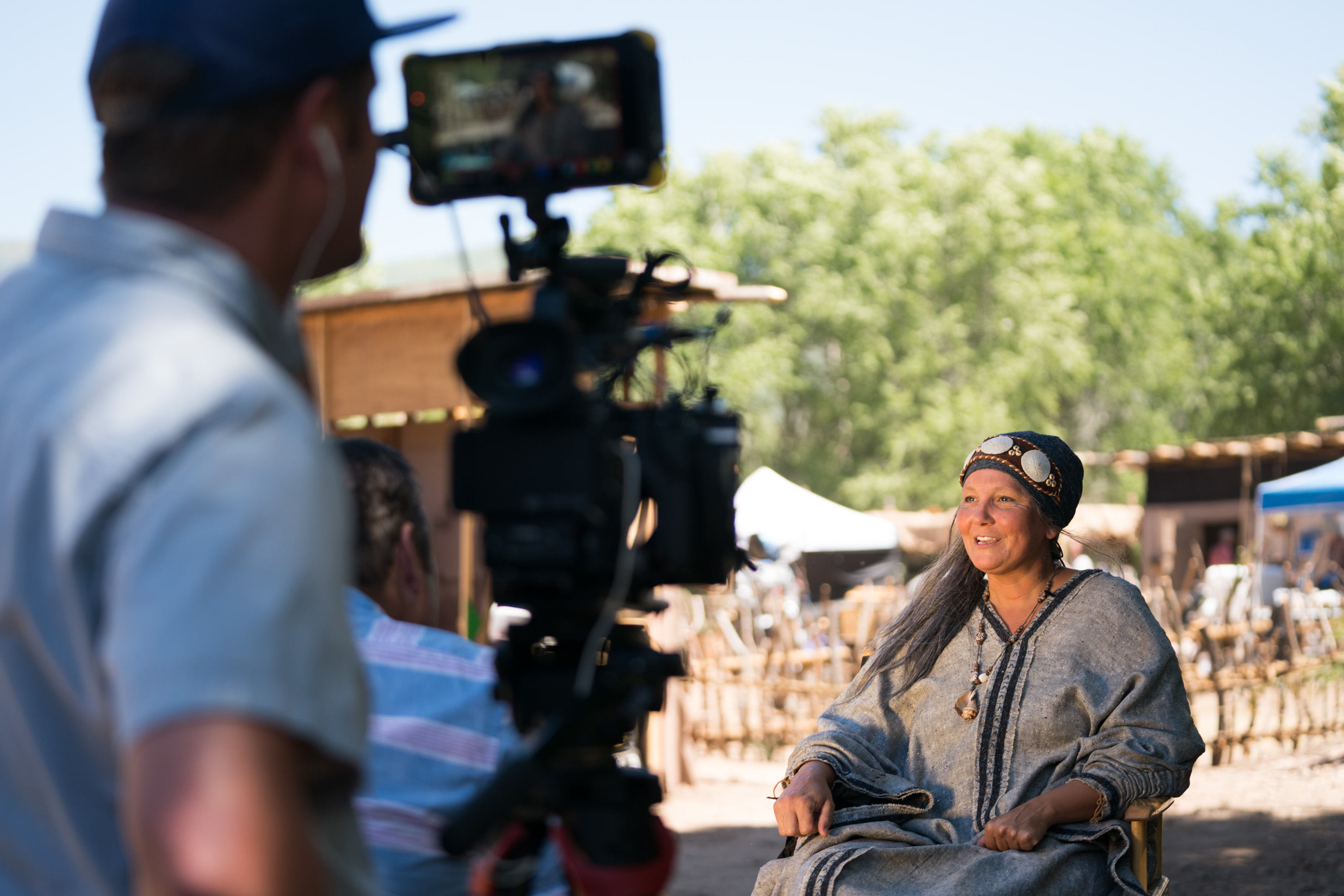 Kymberly Mellen, who plays Sariah in the Book of Mormon Video Library project, sits for an interview on set while shooting Season 2 of the series near Springville, Utah, Wednesday, June 13, 2018.