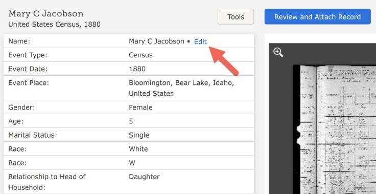 A FamilySearch screenshot example of an index record for Mary C. Jacobson, with an incorrect first name for Merry Christmas Jacobson.
