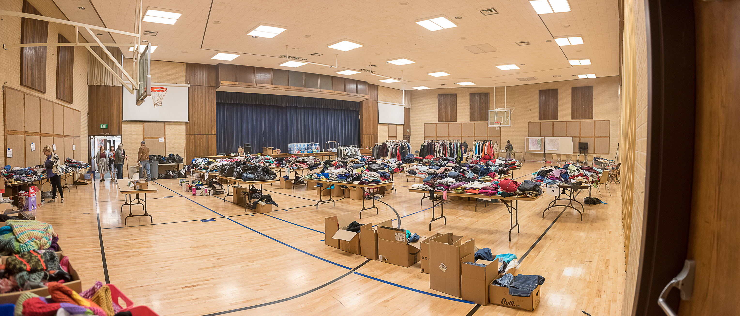 Clothing and other supplies are gathered at a local Latter-day Saint meetinghouse for distribution to those in the community impacted by the wildfire that heavily damaged Paradise, California, on Nov. 16, 2018.