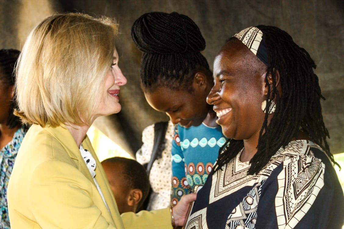 Sister Bonnie H. Cordon meets with a member in Maputo, Mozambique during a ministering home visit in May 2019.
