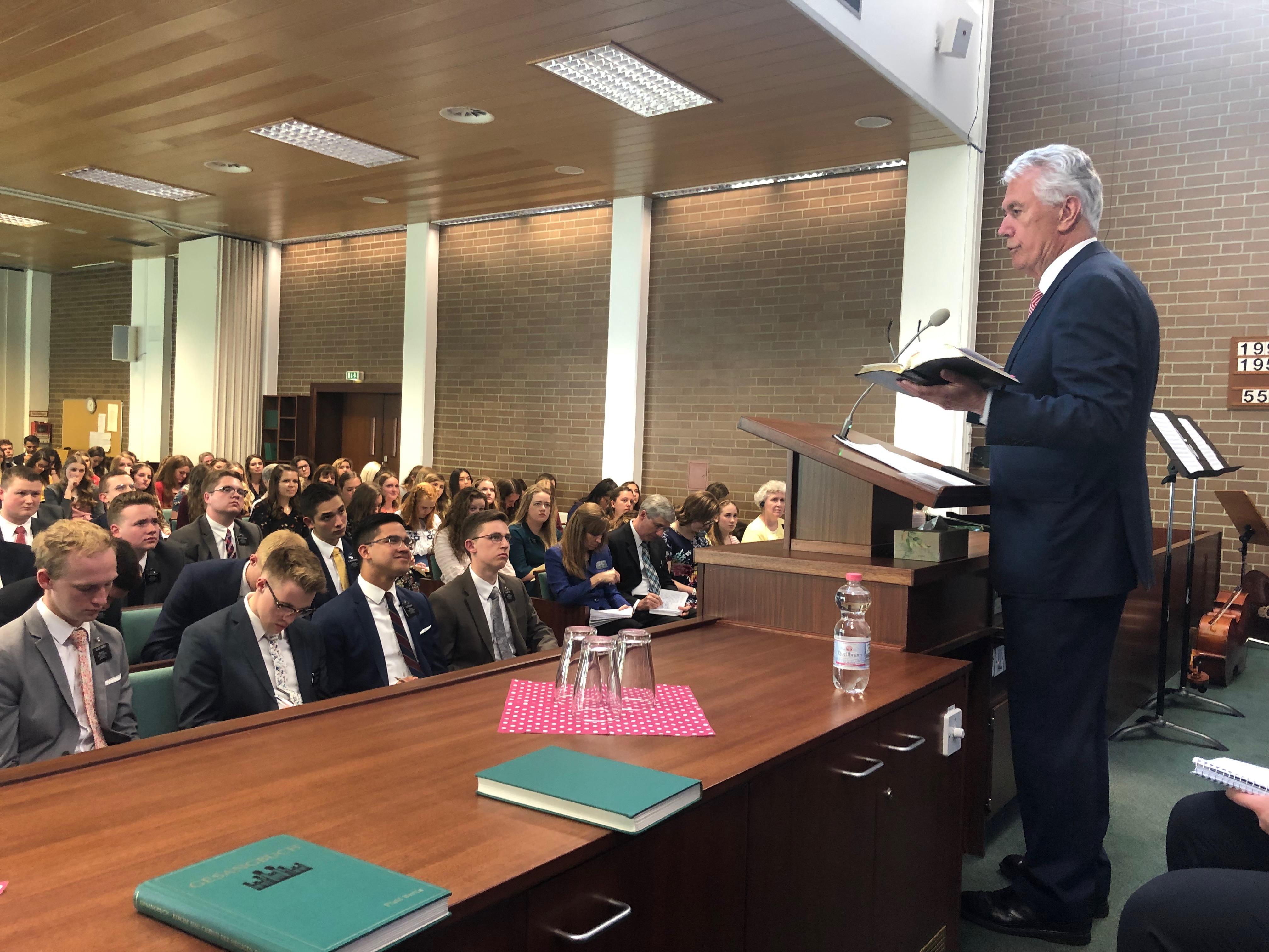 Elder Dieter F. Uchtdorf speaks to missionaries of the Germany Berlin Mission during a mission conference in Berlin on April 26, 2019.