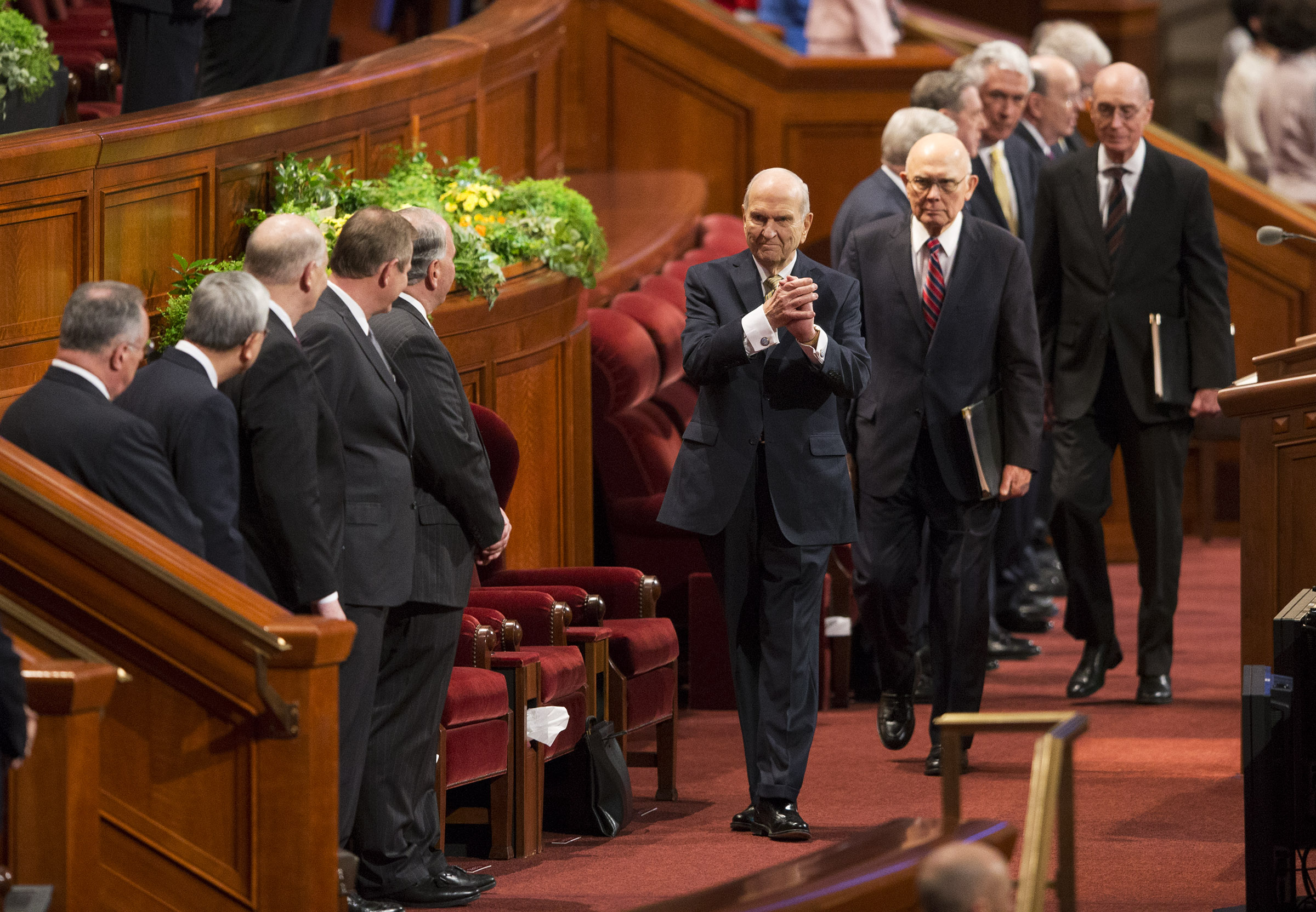 LDS Church President Russell M. Nelson and his counselors, President Dallin H. Oaks, first counselor in the First Presidency and President Henry B. Eyring, second counselor in the First Presidency, walk onto the stand prior to the Sunday afternoon session of the 188th Annual General Conference of The Church of Jesus Christ of Latter-day Saints, in the Conference Center in Salt Lake City on Sunday, April 1, 2018.
