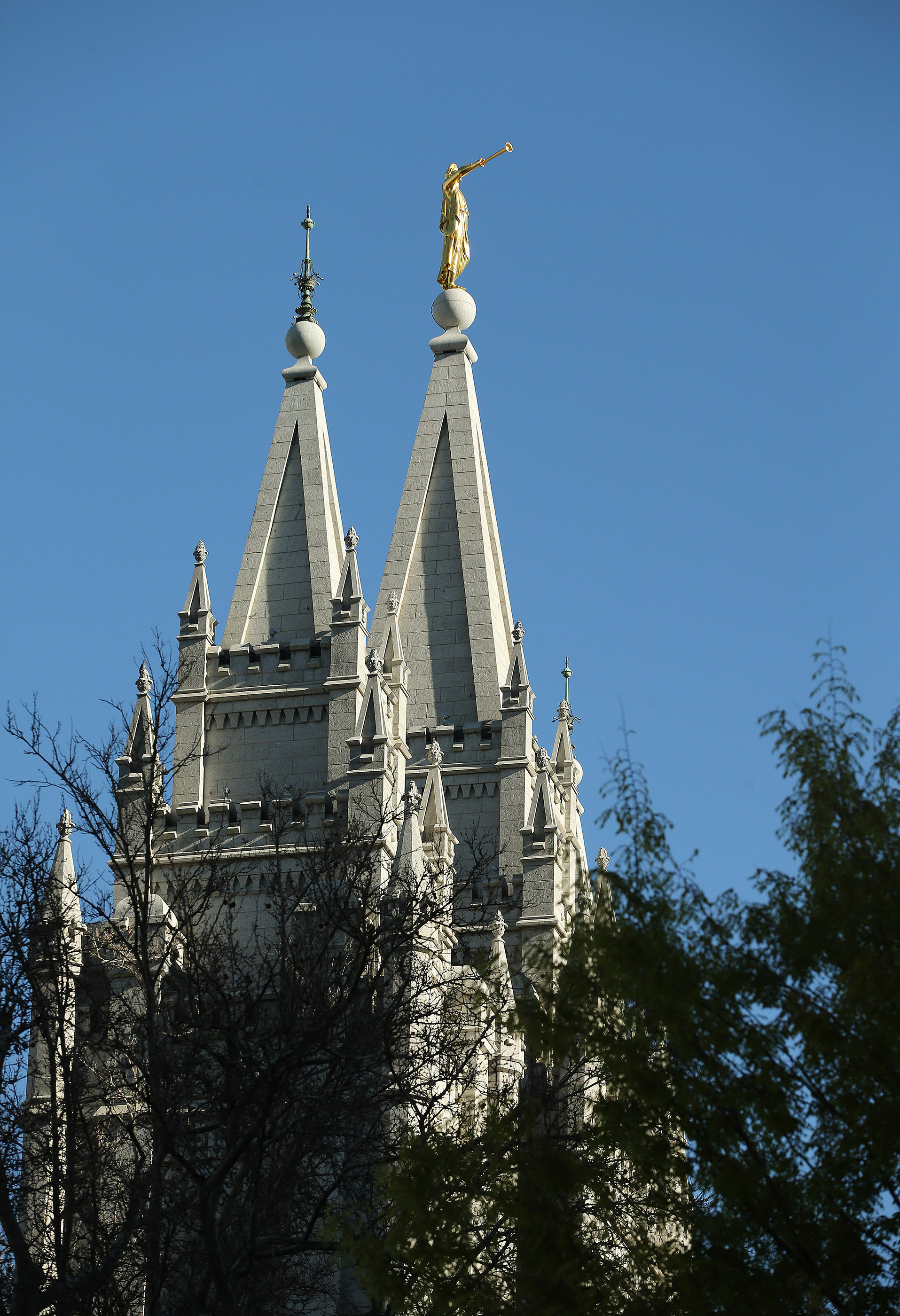 The Salt Lake Temple in Salt Lake City on Friday, April 19, 2019. Leaders of The Church of Jesus Christ of Latter-day Saints discontinued a policy Monday morning, May 6, requiring couples who marry civilly to wait one year before being sealed in the temple.