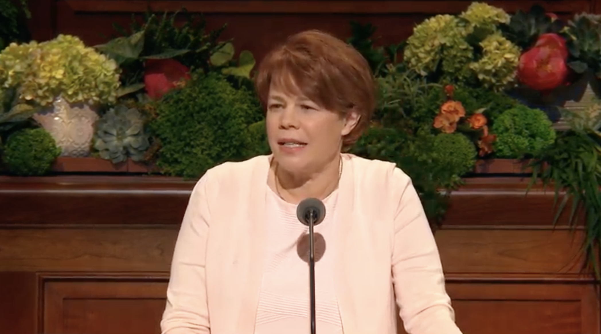 Sister Sharon Eubank, first counselor in the Relief Society general presidency, gives her address during the Sunday morning session of the 189th Annual General Conference on April 7, 2019.