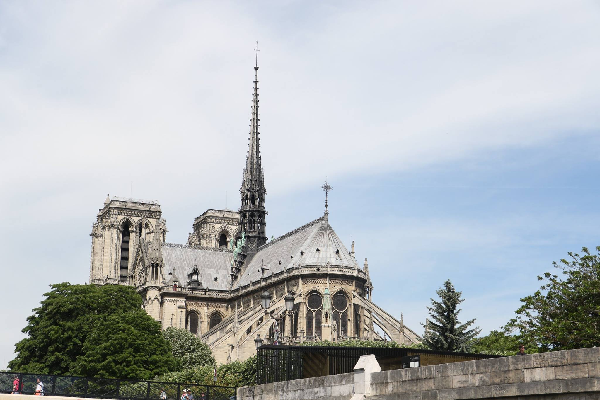 A view of Notre Dame from the Seine River on May 22, 2017.