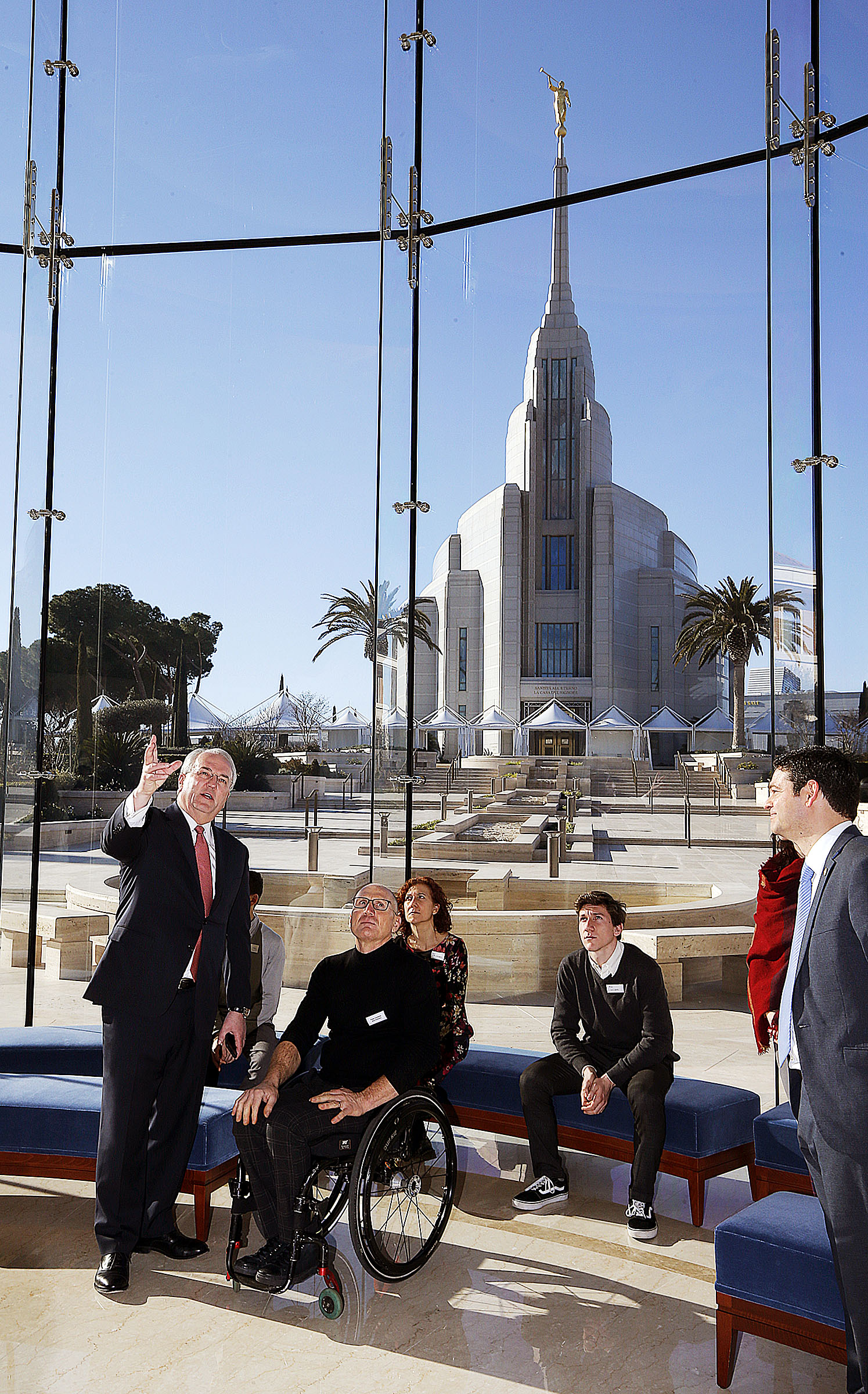 Elder Jack N. Gerard of The Church of Jesus Christ of Latter-day Saints, leads Paralympian Paolo Cecchetto and his family on a tour of the Rome Italy Temple Rome Temple Visitors' Center on Tuesday, Jan. 15, 2019.