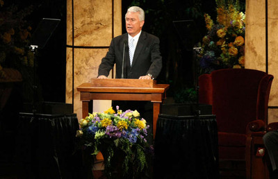 President Dieter F. Uchtdorf, second counselor in the First Presidency, speaks during Golden Days, A Celebration of Life, in honor of President Thomas S. Monson's 85th birthday in the LDS Conference Center in Salt Lake City on Friday, Aug. 17, 2012.