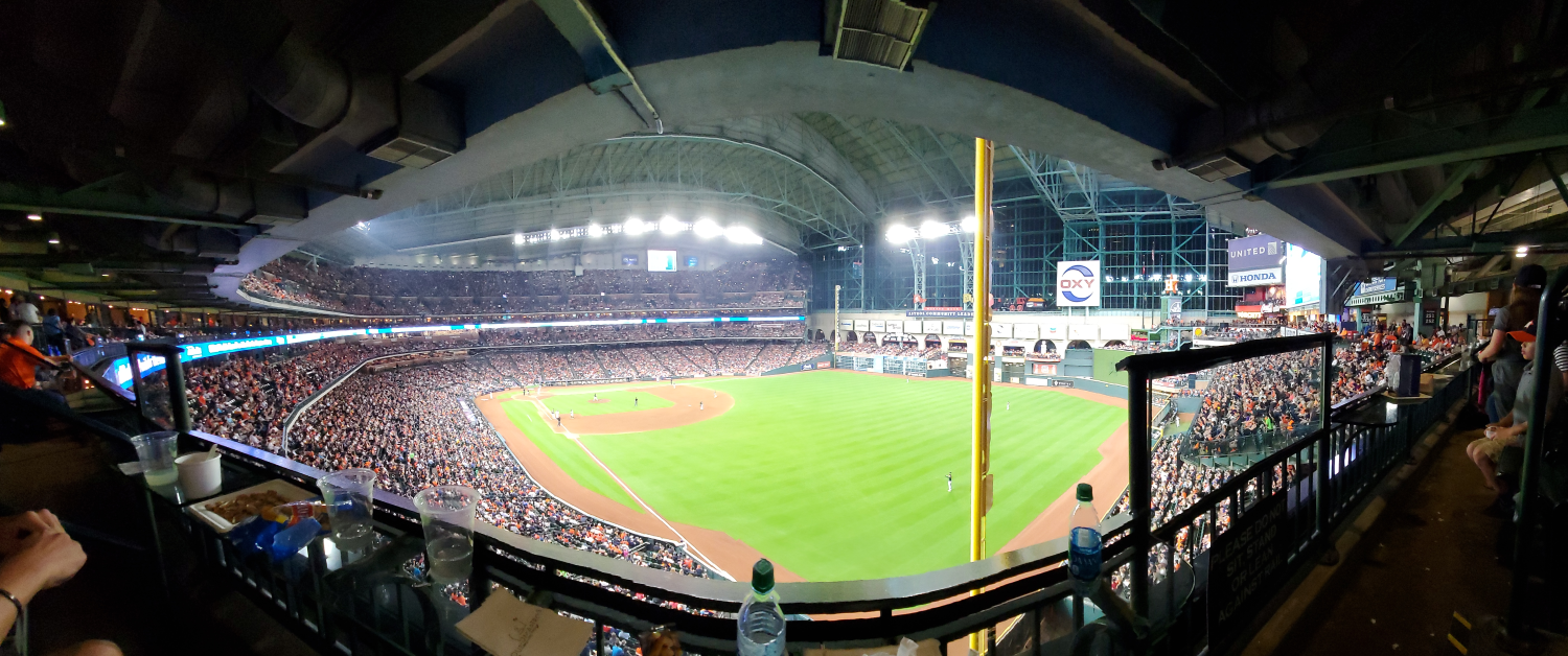 Panoramic view of sold-out Minute Maid park home of the Houston Astros baseball team.
