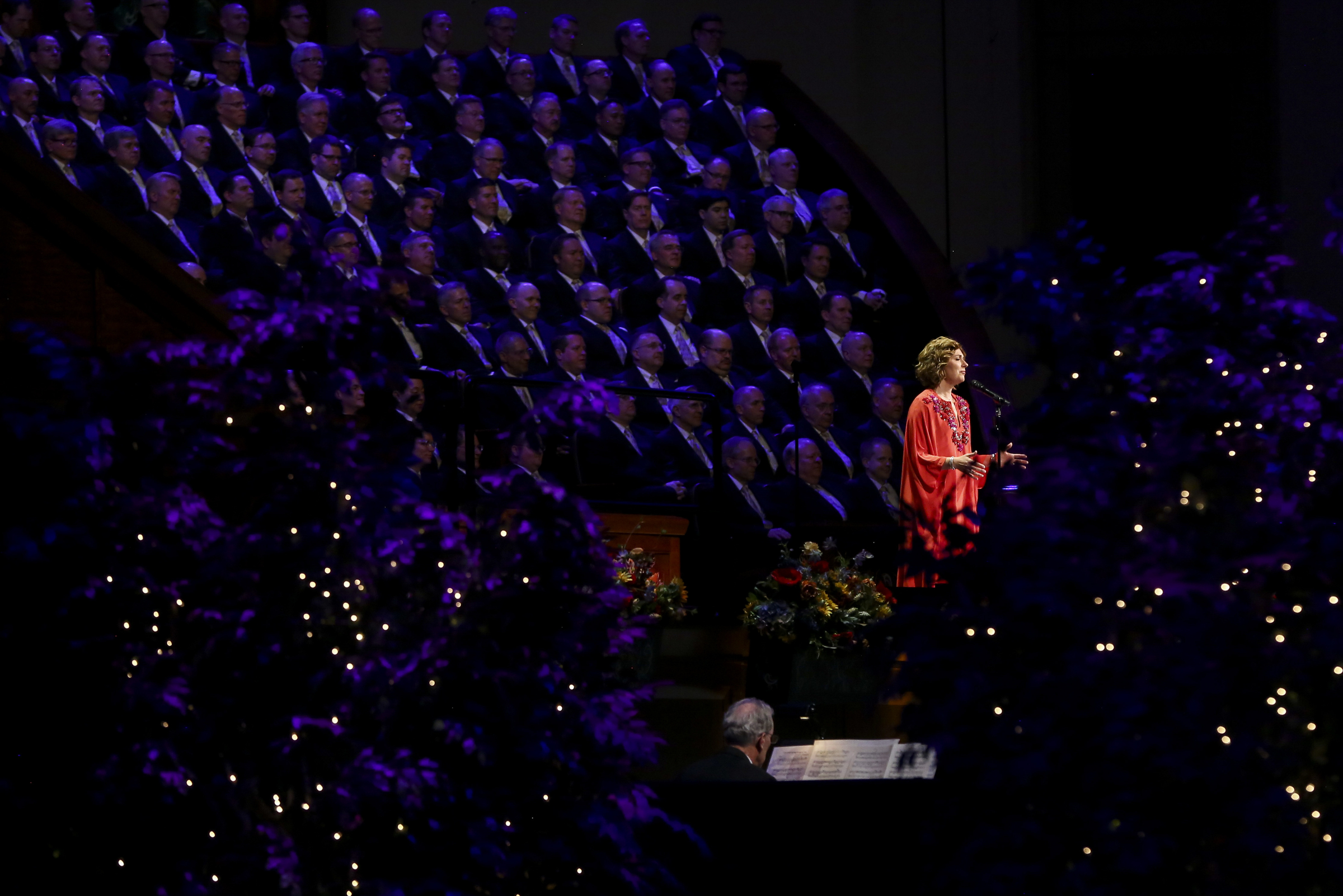 Special guest Sissel sings with the Tabernacle Choir and Orchestra at Temple Square during the Pioneer Day concert at the Conference Center in Salt Lake City on Friday, July 19, 2019.
