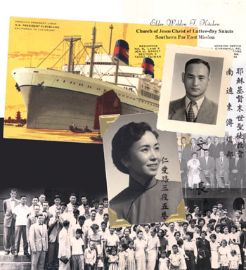 Pictured are one of first converts, Tseng-I-Chang; Sister Tan; missionaries and President H. Grant Heaton and his wife, Roxcy Luana; Sunday School in Taipei, and ocean liner that carried missionaries to Asia.