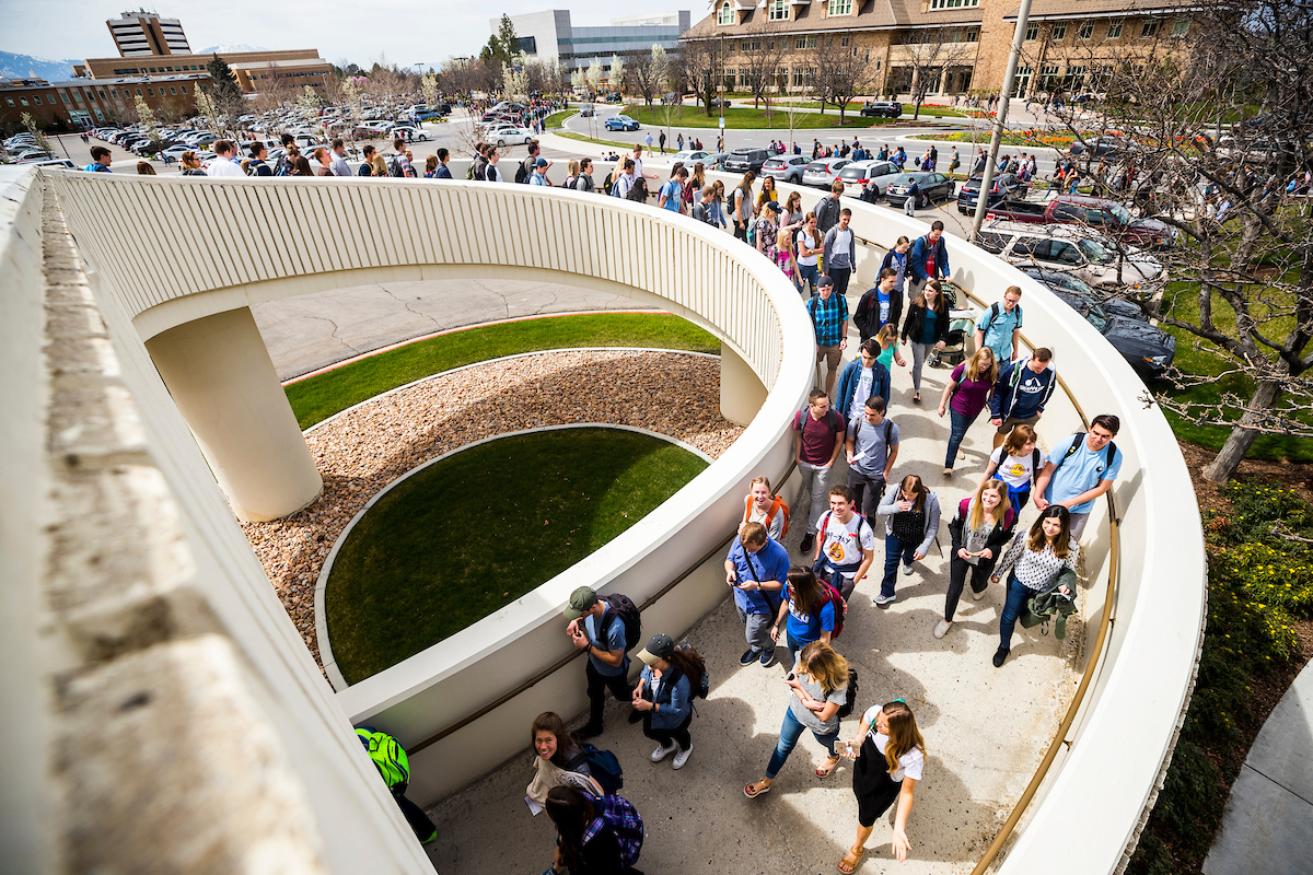 Students walk on the BYU campus after the campus devotional on April 10, with Elder Neil L. Andersen of the Quorum of the Twelve Apostles.