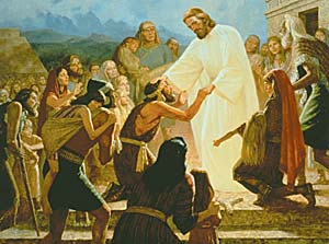 In this painting, Gary L. Kapp depicts the compassion of the Lord as He heals the Nephites. The pure doctrine of Christ was restored through the Book of Mormon.