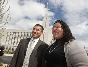 Jaime and Sandra Perez talk about their experience of the dedication of the Oquirrh Mountain Utah Temple in South Jordan, Utah, Sunday, Aug. 23, 2009.