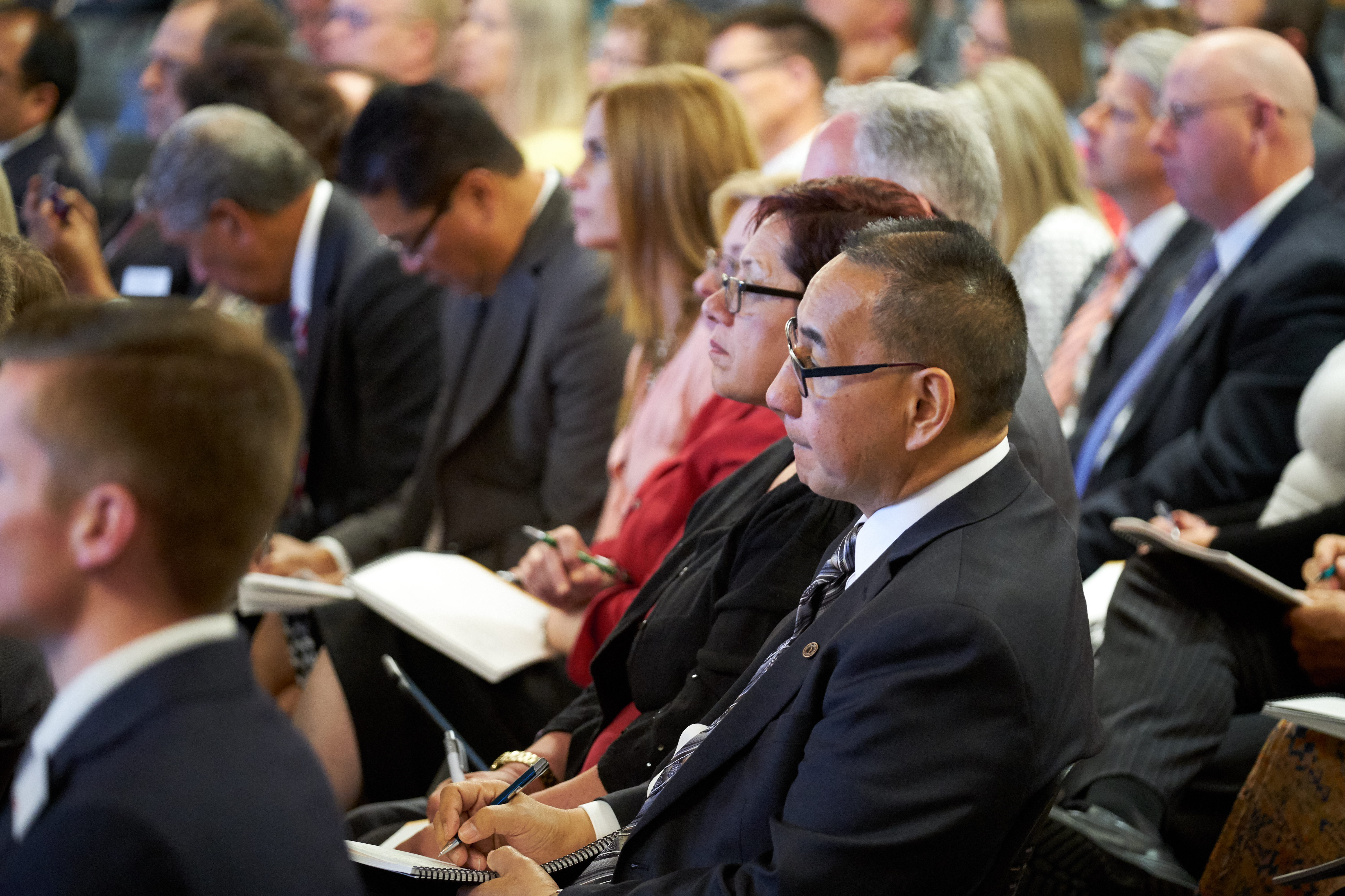 Mission president and their companions listen to a session during the 2018 Mission Leadership Seminar at the Provo Missionary Training Center on June 24-26.