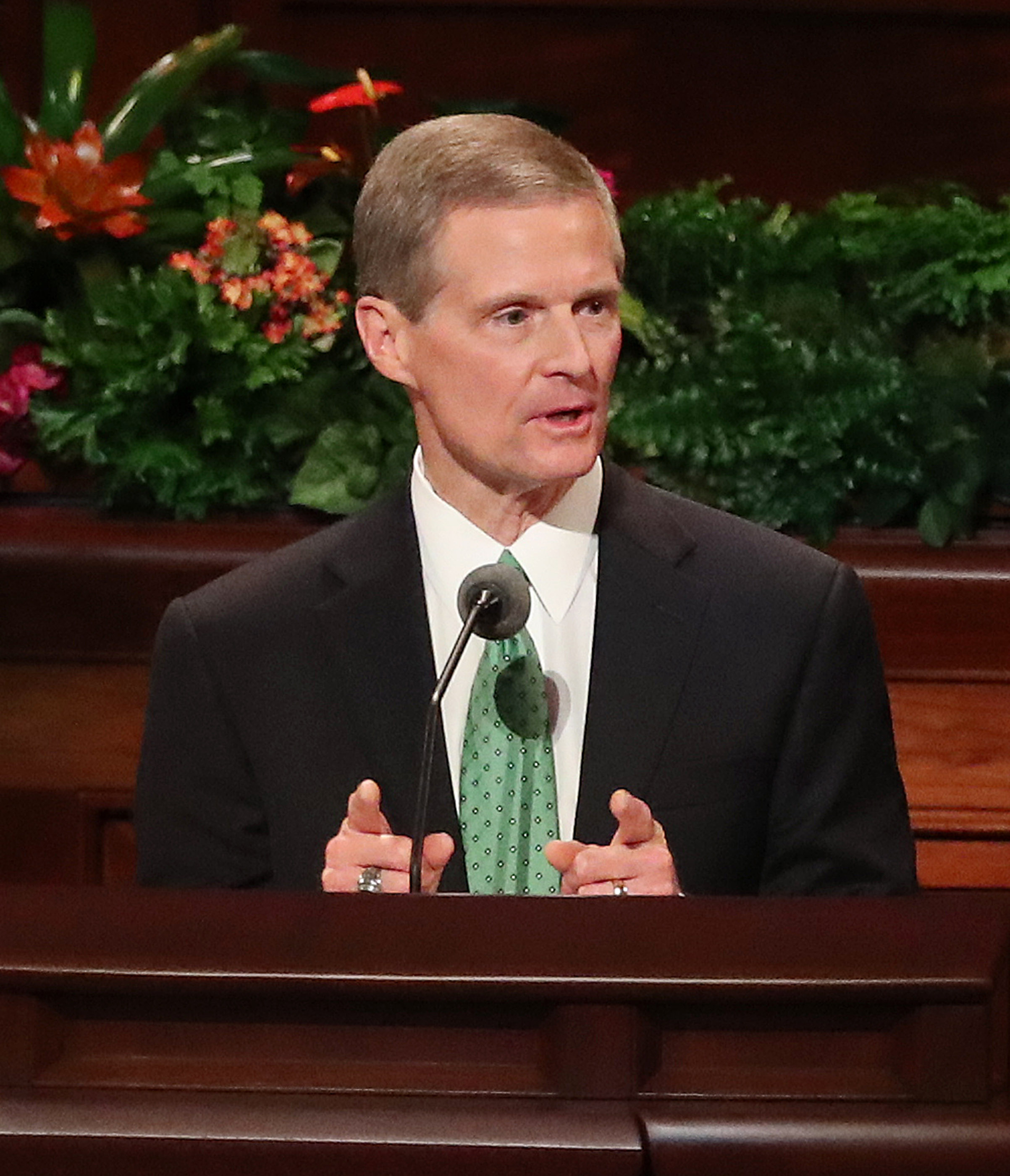 Elder David A, Bednar of the Quorum of the Twelve Apostles speaks during the Saturday morning session of the 188th Semiannual General Conference of The Church of Jesus Christ of Latter-day Saints in the Conference Center in Salt Lake City on Saturday, Oct. 6, 2018.