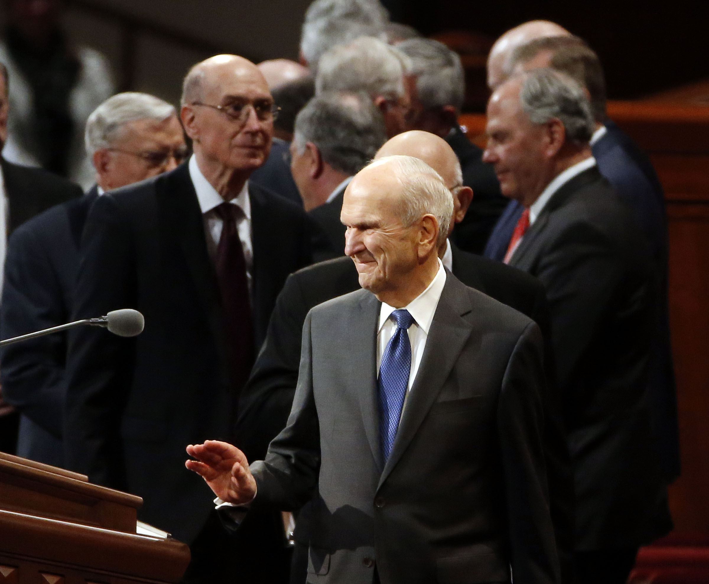 President Russell M. Nelson acknowledges conferencegoers following the Saturday morning session of the Church's 188th Annual General Conference in Salt Lake City on Saturday, March 31, 2018.