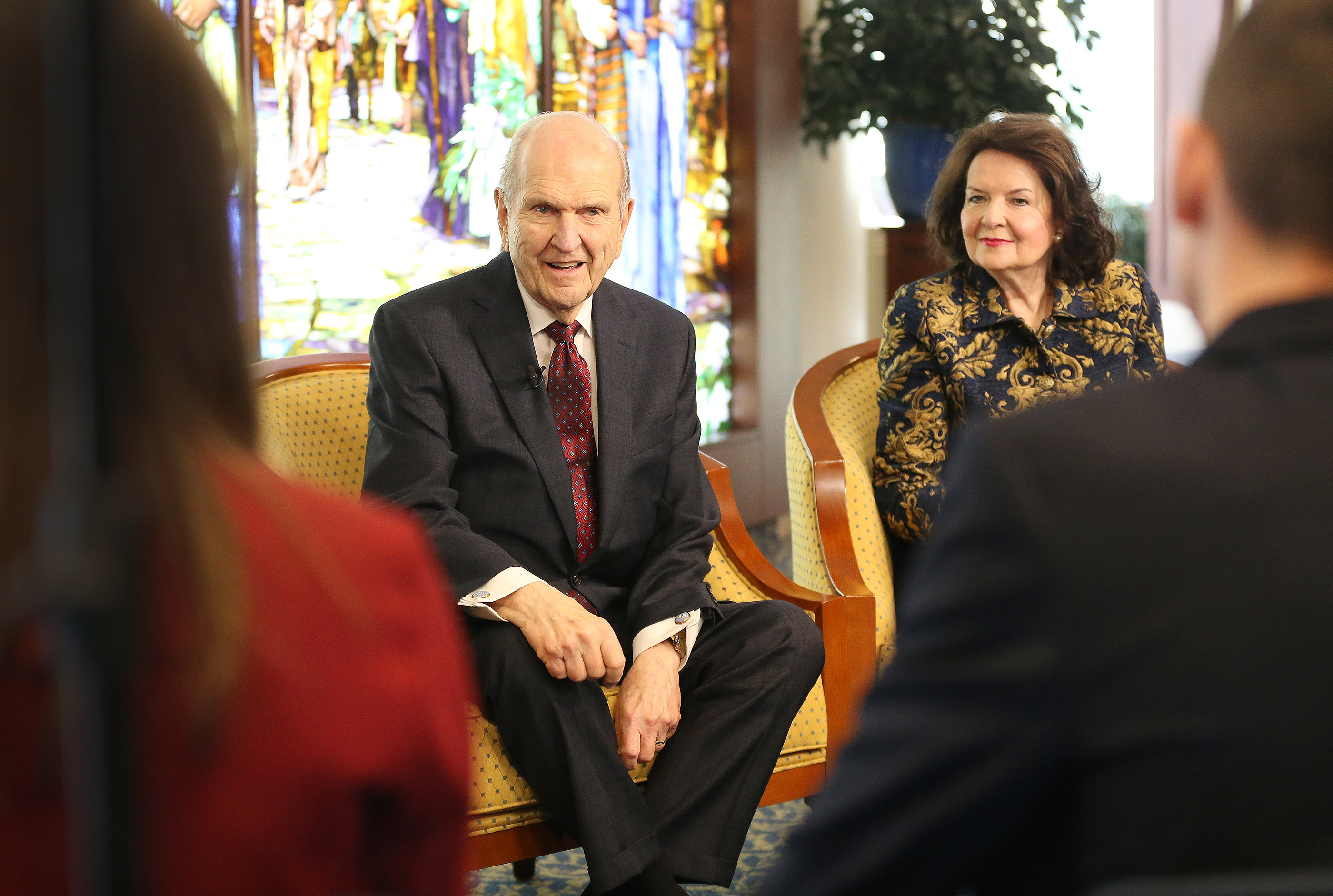 President Russell M. Nelson of The Church of Jesus Christ of Latter-day Saints and his wife, Sister Wendy Nelson, meet with youth in the Rome Italy Temple Visitors' Center prior to a youth devotional in Rome, Italy, on Saturday, March 9, 2019.
