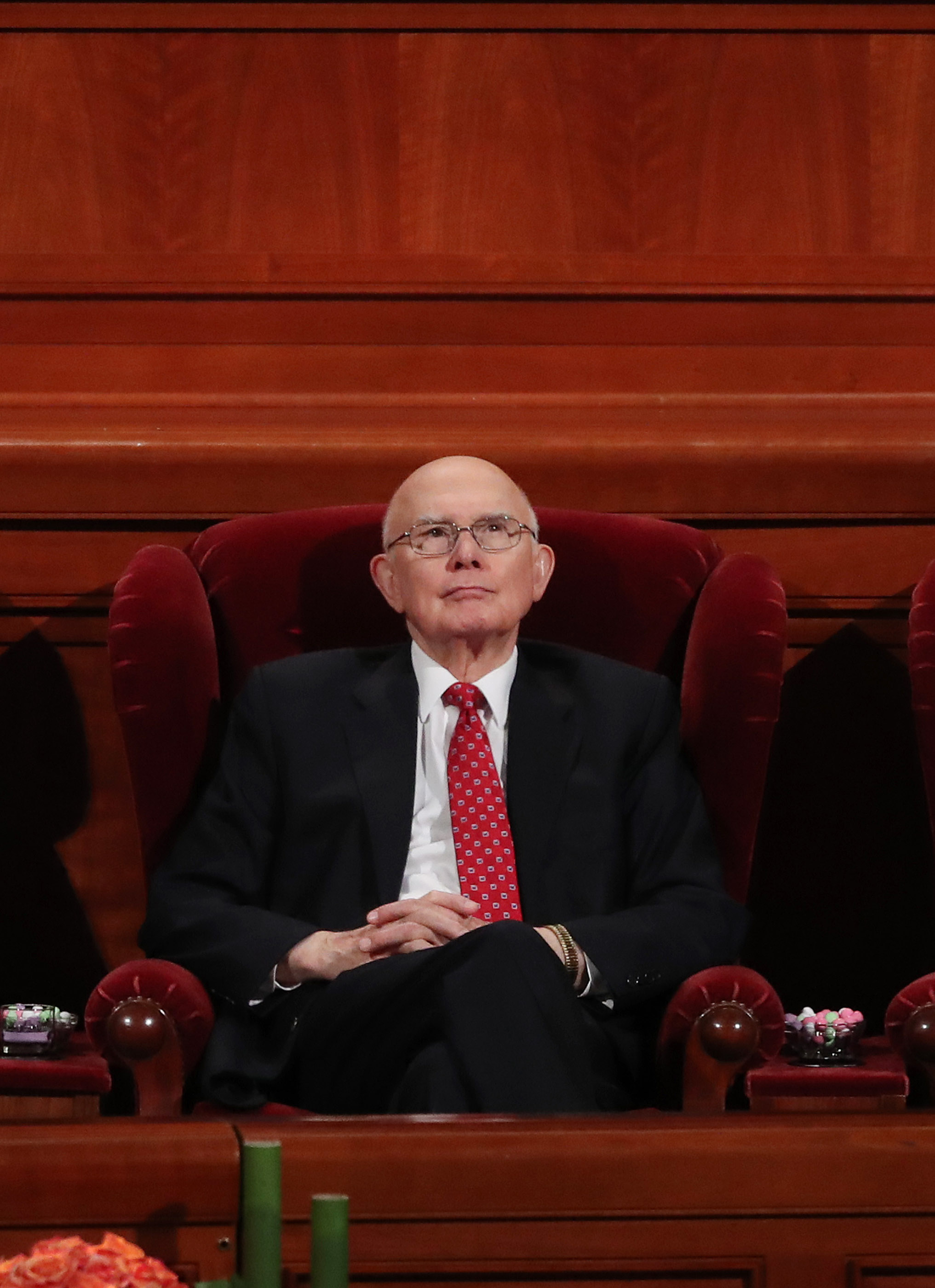 President Dallin H. Oaks, first counselor in the First Presidency, looks out to attendees during the 188th Semiannual General Conference of The Church of Jesus Christ of Latter-day Saints in Salt Lake City on Sunday, Oct. 7, 2018.